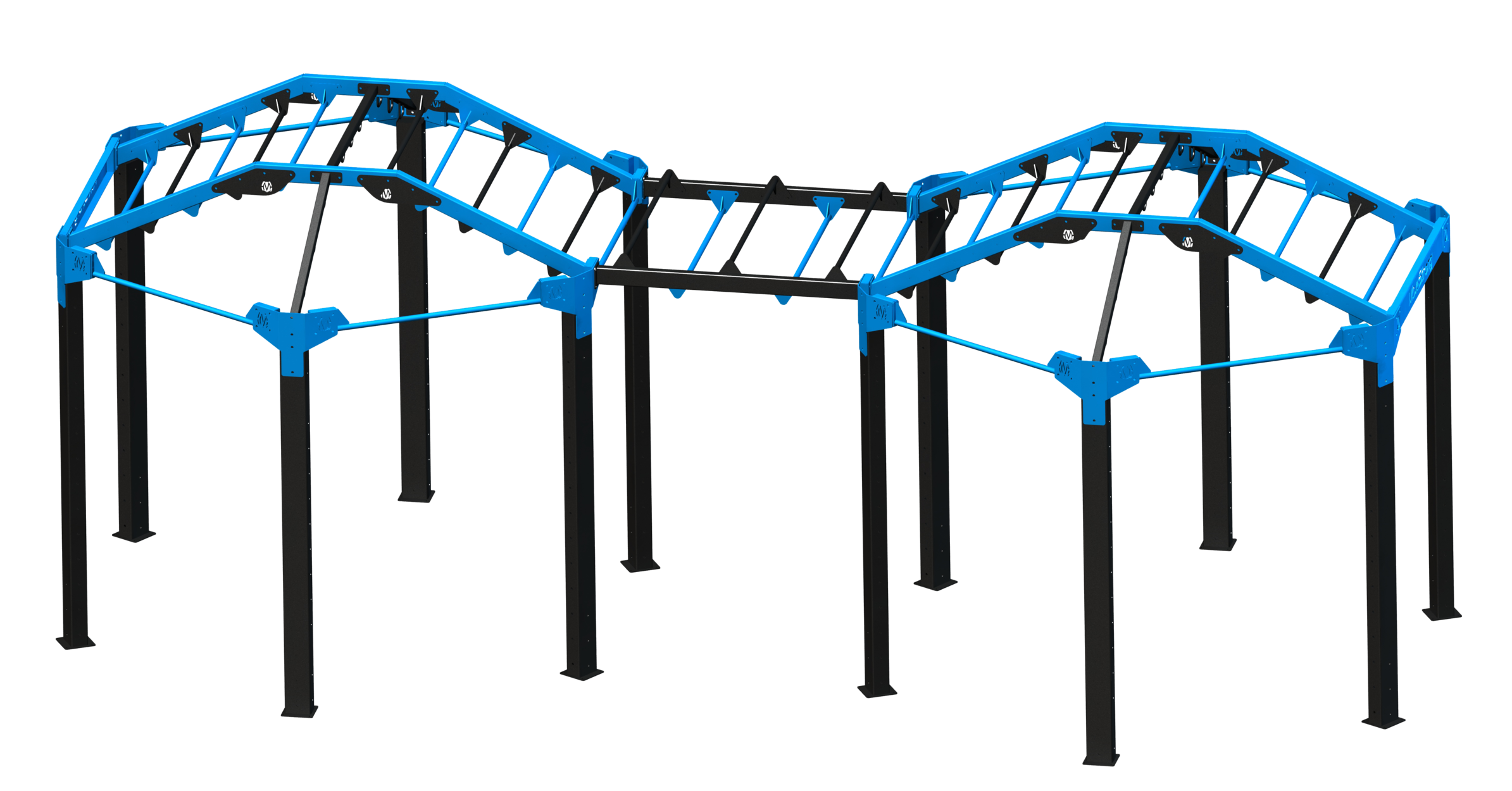 """The Super NOVA-12 FTS:   Connect NOVA stations together with horizontal monkey bar bridge for creating the dream size NOVA FTS! Connecting horizontal bridge available in 5' or 10' lengths.  23'3"""" L x 11'5"""" W x 9'7"""" H *"""