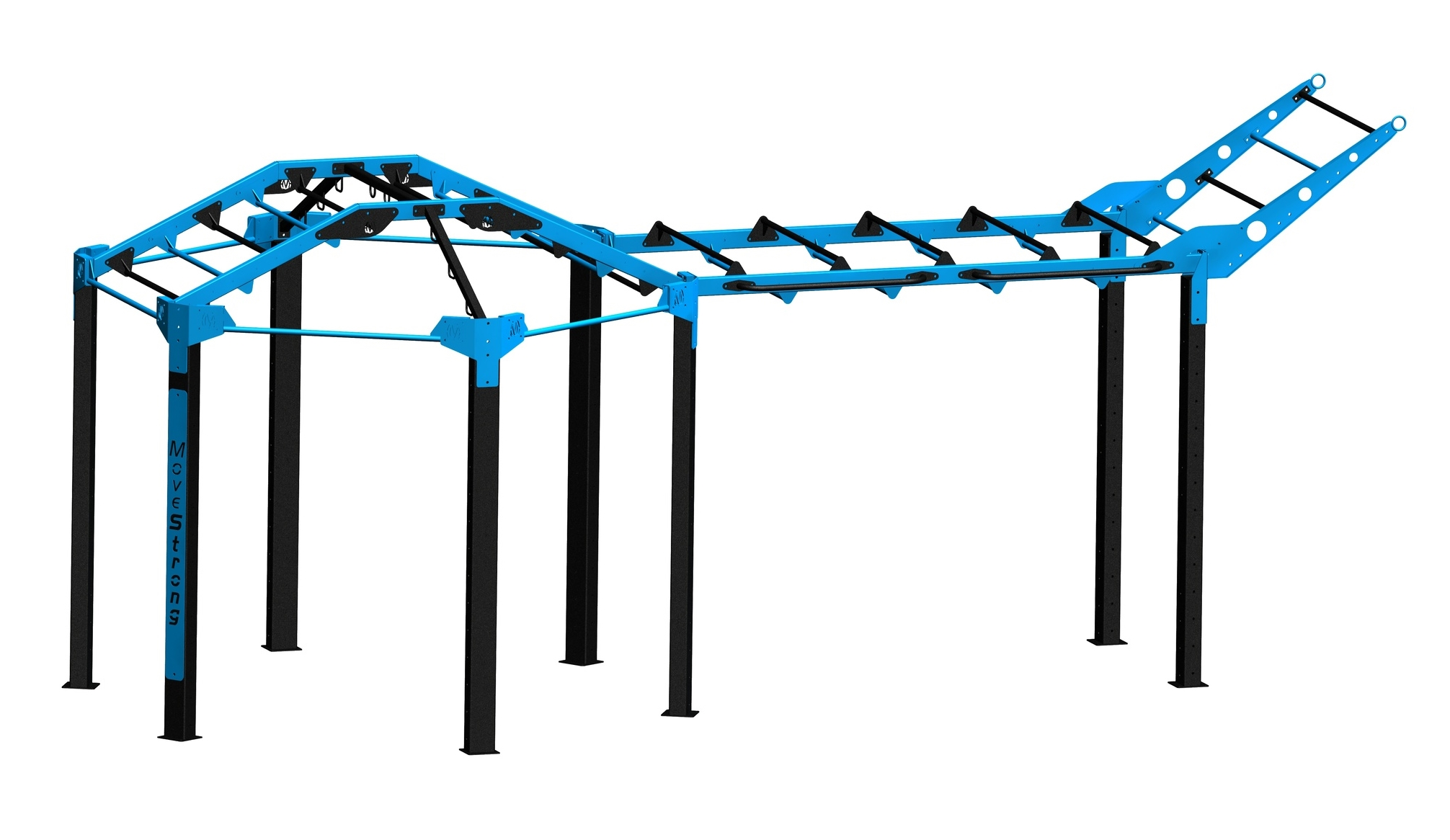 """Standard NOVA-6 FTS with extended Monkey Bar bridge   Add an extended horizontal bridge off the Nova-6 FTS for more training options  23'4"""" L x 10'2"""" W x 10'4""""' H (with tiered climber bar at end of bridge)*"""