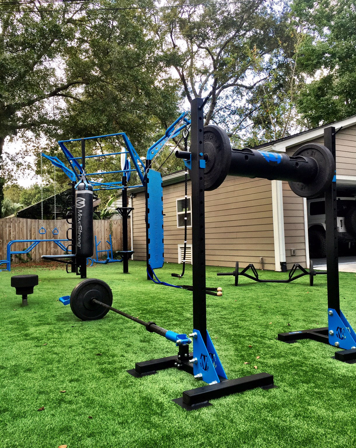 Products include MoveStrong Indy Squat Stands with GRT, Elite Parallel Bars, Balance Steps, Zig Zag balance beam (not shown), Drive Sled, DSL Bar, Strength Log. The MoveStrong T-Rex Outdoor Functional Training Station is a 4-post zig-zag design with Kickplate, Climber bar, Climbing Rope, Outdoor Rings, pull-up bars, Medicine ball target, Loop anchor post, and special design MoveStrong Heavy Bag.