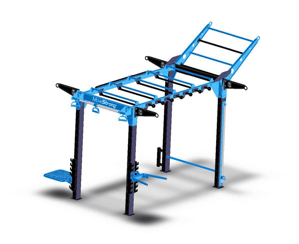 """NOVA-4 FTS Long -with NEW 10' long monkey bar bridge   New 10' long horizontal monkey bar bridge offers a longer version of the NOVA-4 FTS model. Image shows Sliding-pull-up,nDip, Step, Push-up bar, Globe rail, Climber bar, Suspension hangers, Sliding rope anchor, Base vertical rope anchor  9'9""""L x 5'7"""" W x 8'2"""" H *(post-to-post without add-on features). Tiered Climber Bar on top creates 10'4"""" overall height"""