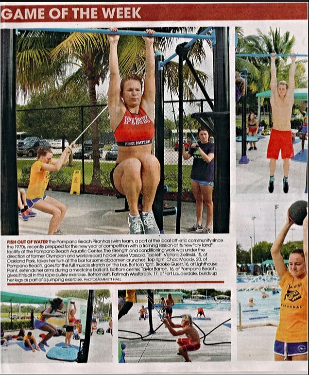 Pampano Beach Aquatic Center offers dry land training area for local swim team strength and conditioning workouts