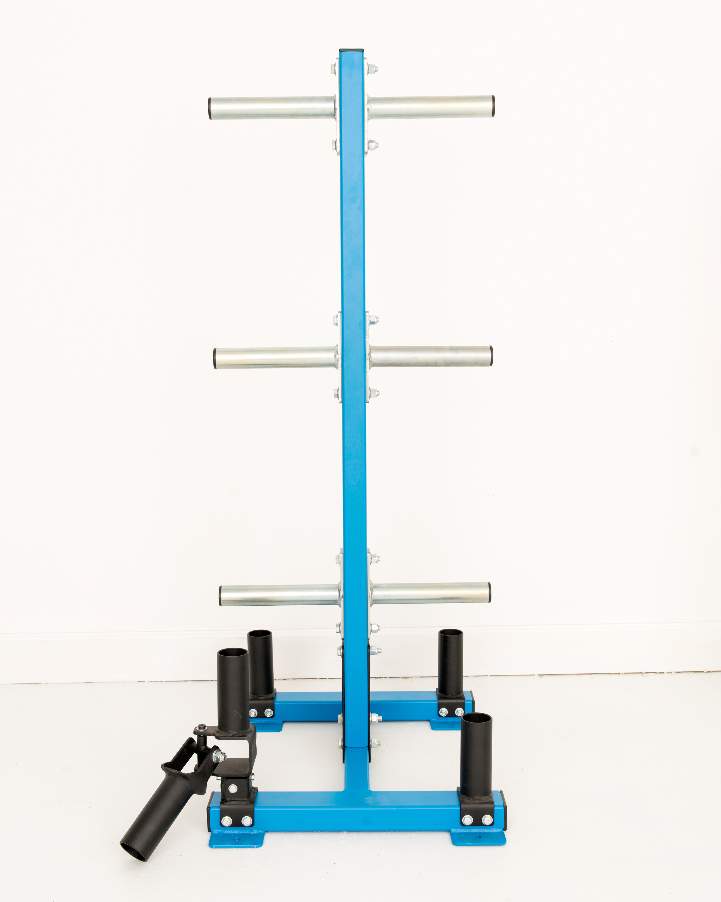 Elite Bumper Plate Storage Rack- Free Statnding  - customize with choice of training features at the base with Olympic bar holders, GRT (Ground Rotational Trainer), or Rope Anchor.