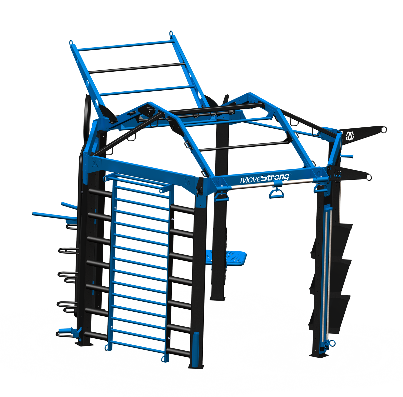 """NOVA-6 FTS with Options:  Create a truly unique & challenging training station with options  11'5"""" L x 14'8"""" Wx 10'4"""" H (with tiered climber bar at end)*"""