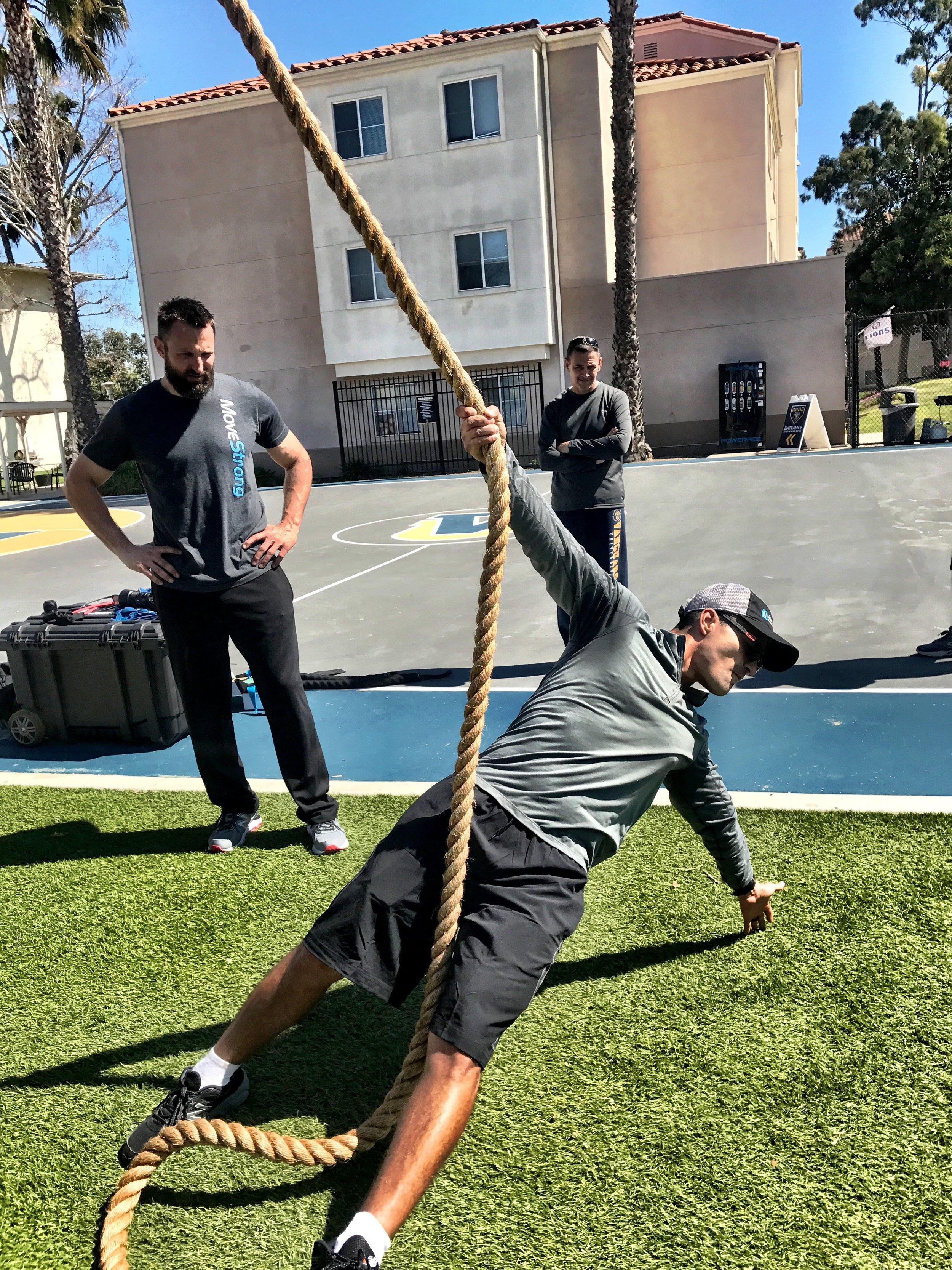 Climbing rope reach backs