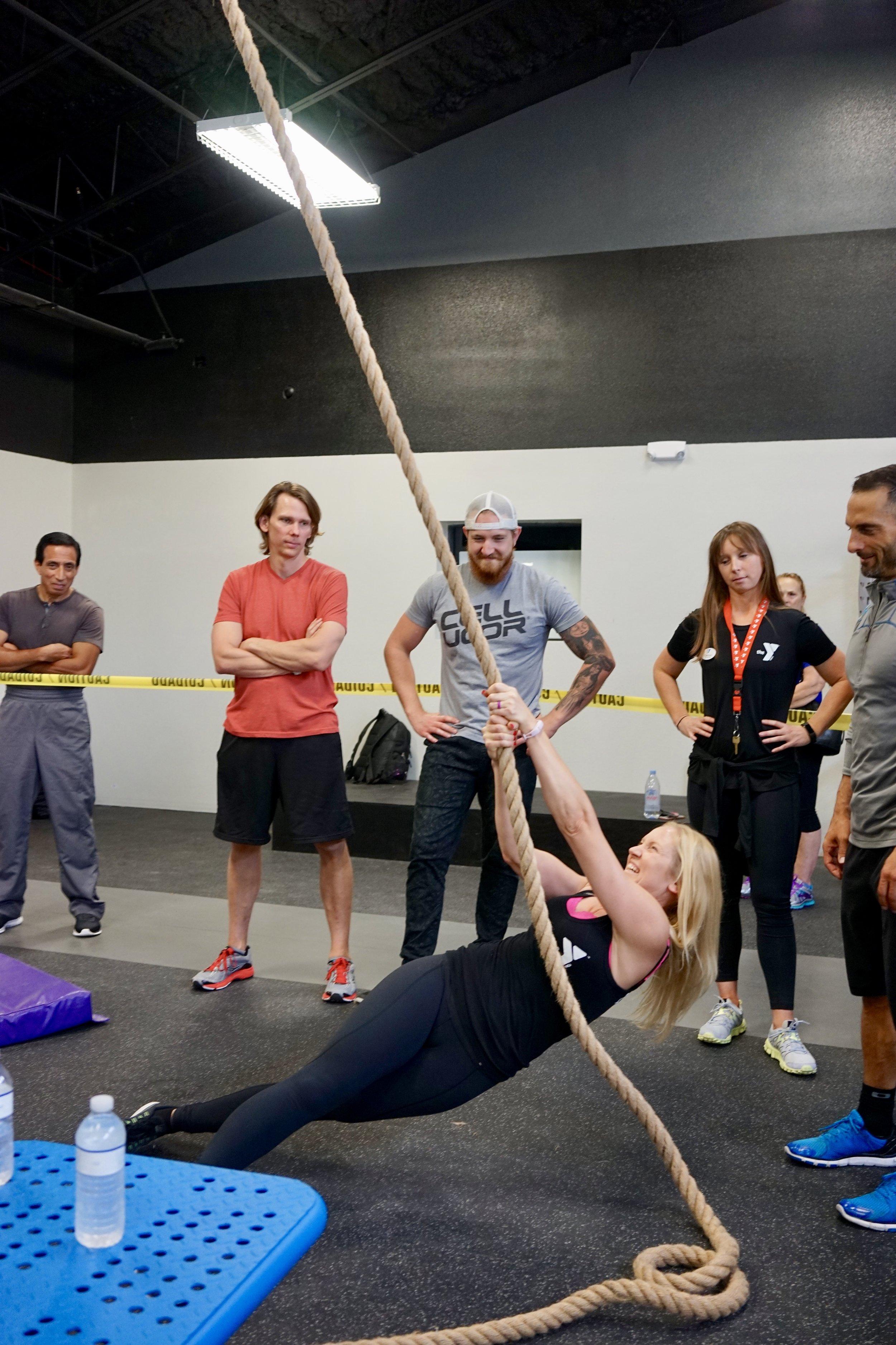 Climbing rope rotational pulls