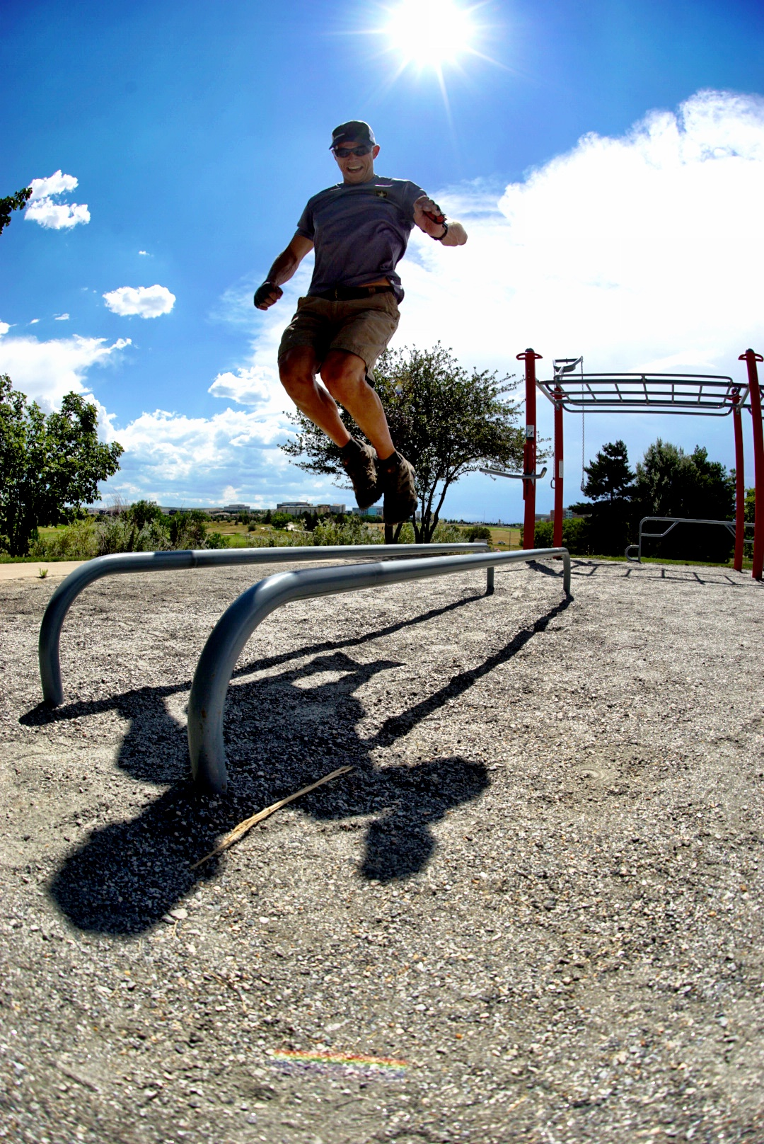 Plyo jumps over low parallel bars