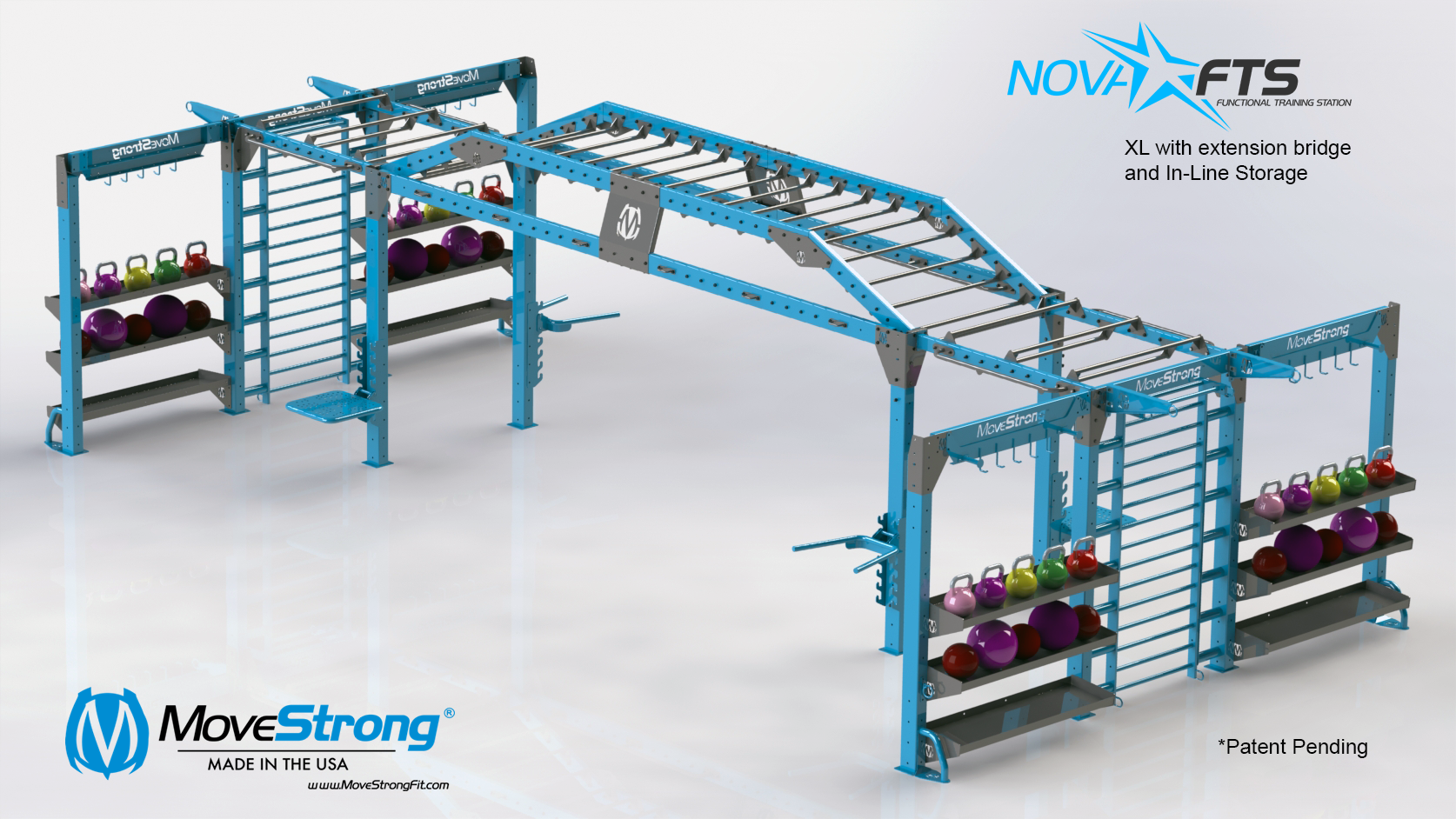 Training and Storage Solutions at end of Nova XL with extended monkey bar bridge