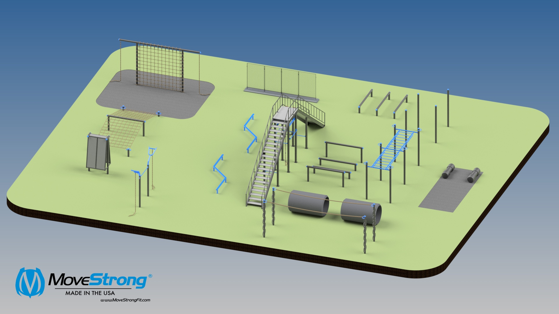 MoveStrong design and layout for Outdoor Obstacle Course