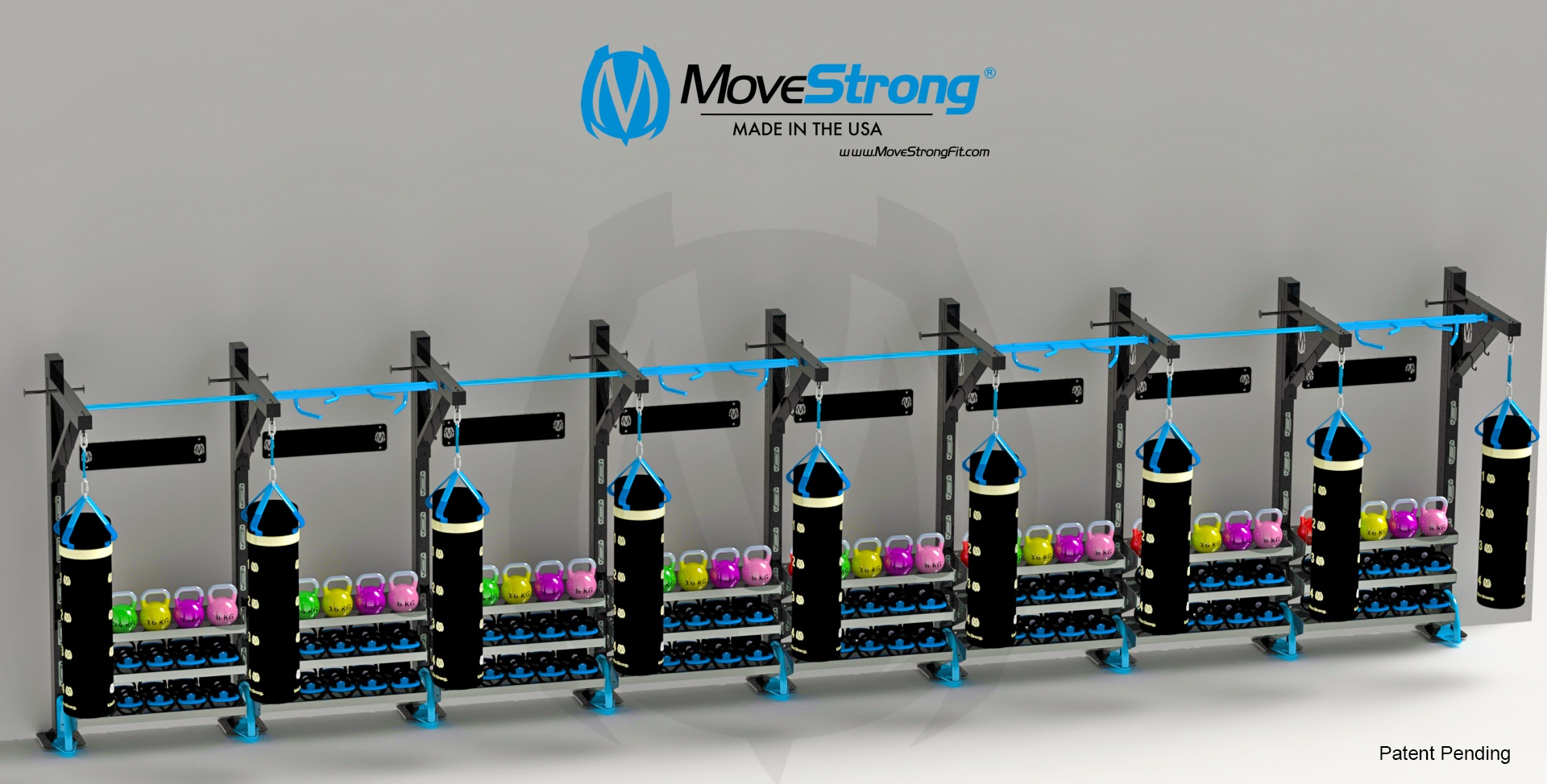 Nine Functional Columns with eight sets of storage trays shown. Additional storage trays maybe added. Also shown is the Wall Storage Accessory Plate above the trays ideal for hanging bands, jump ropes, gloves, ropes, etc.