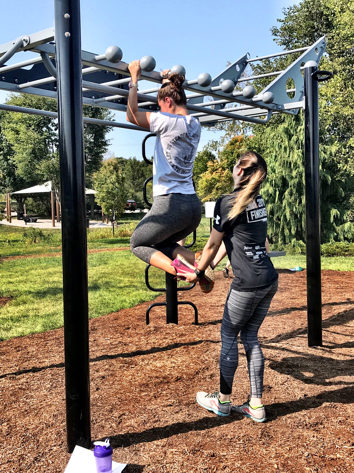 Outdoor Monkey Bars with Side Rail Pull-up bars and Globe Grip rail