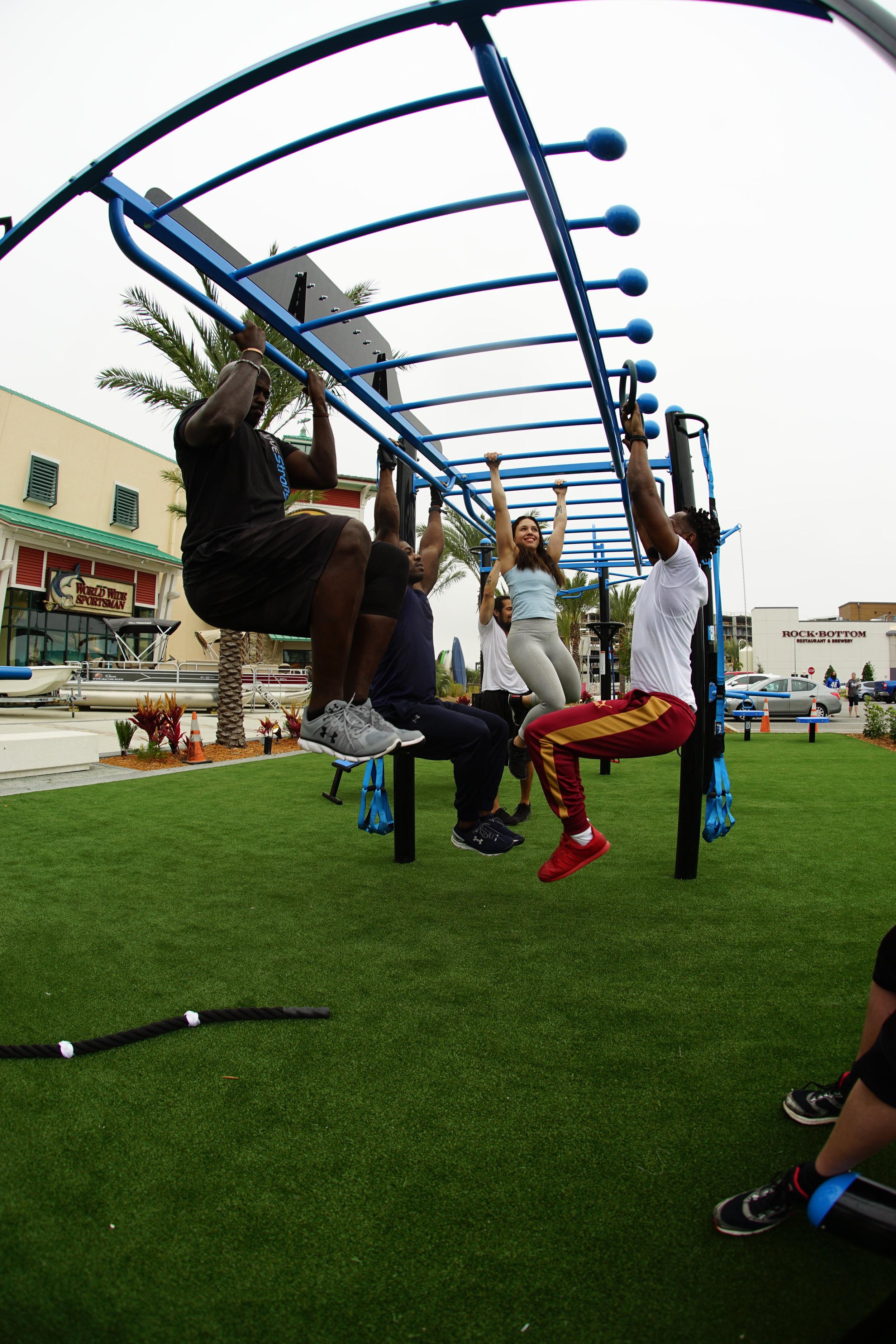 Group calisthenics workout outdoor