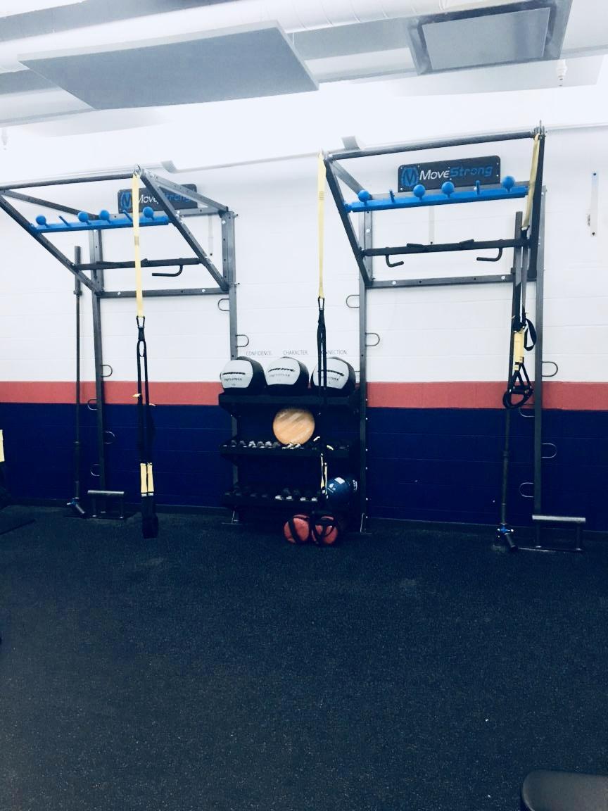 Wall mount pull-up bar High school gym