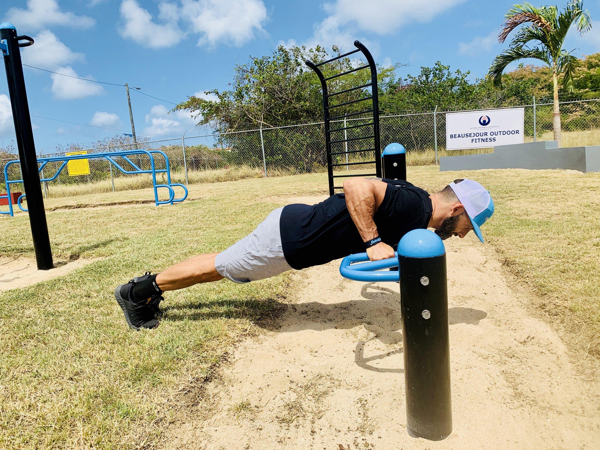 Push-up calisthenics bars outdoor gym park
