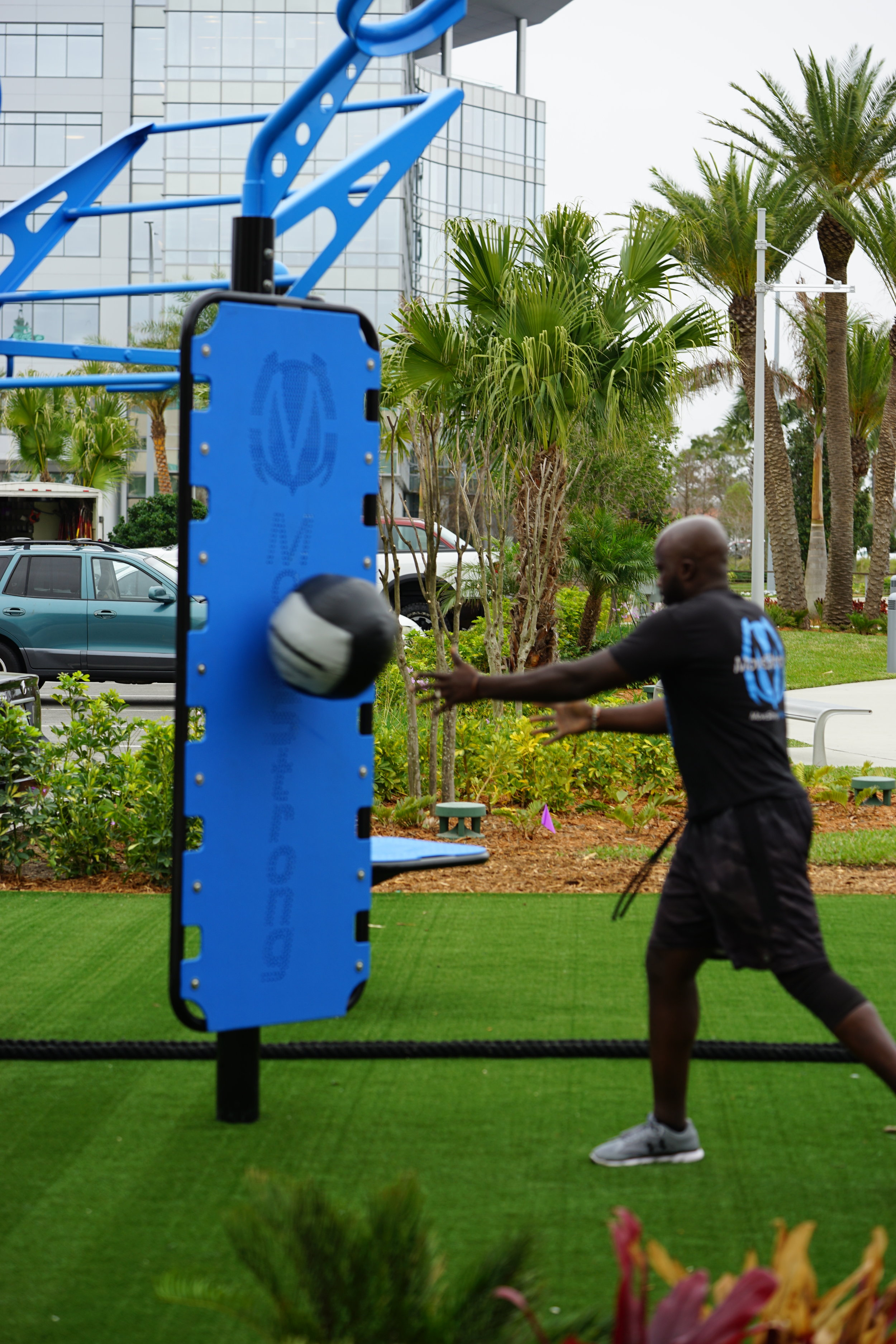 Medicine Ball throw outdoor functional fitness throw