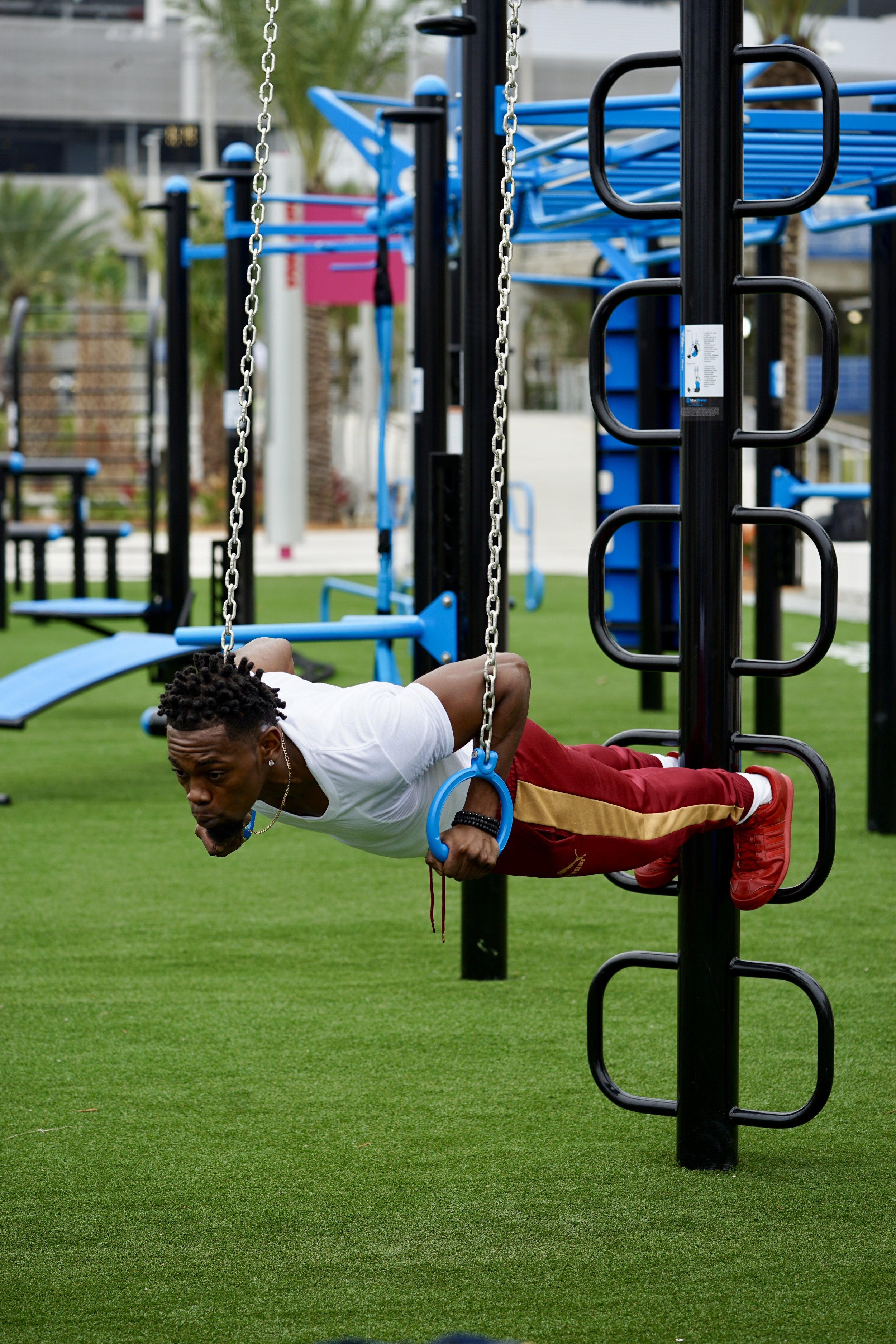 Outdoor rings fitness calisthenics workout equipment
