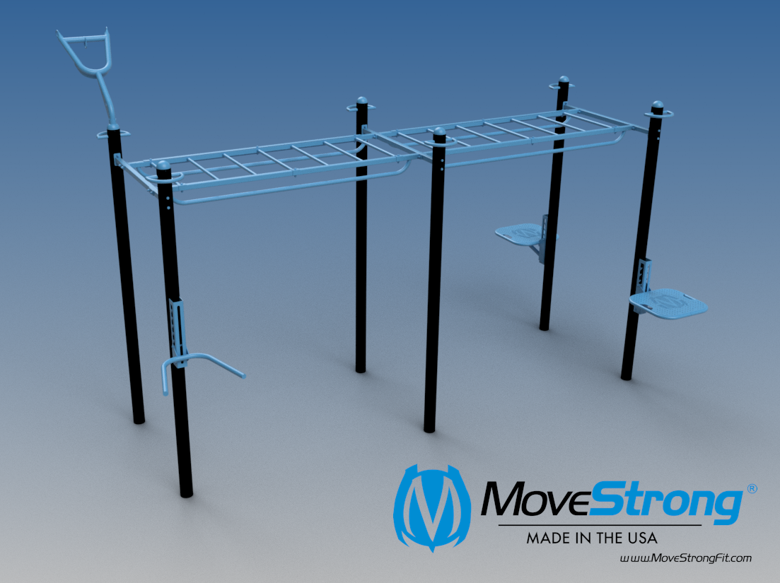 6-Post Double Monkey Bar Bridge. Modular in size