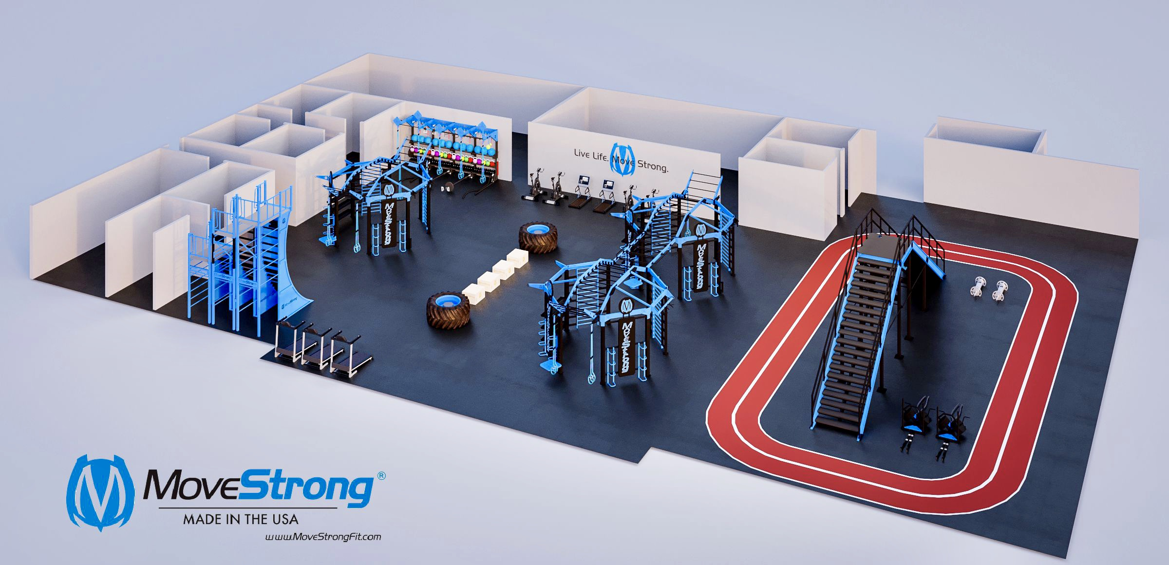 Functional Training Gym Design with Staircase