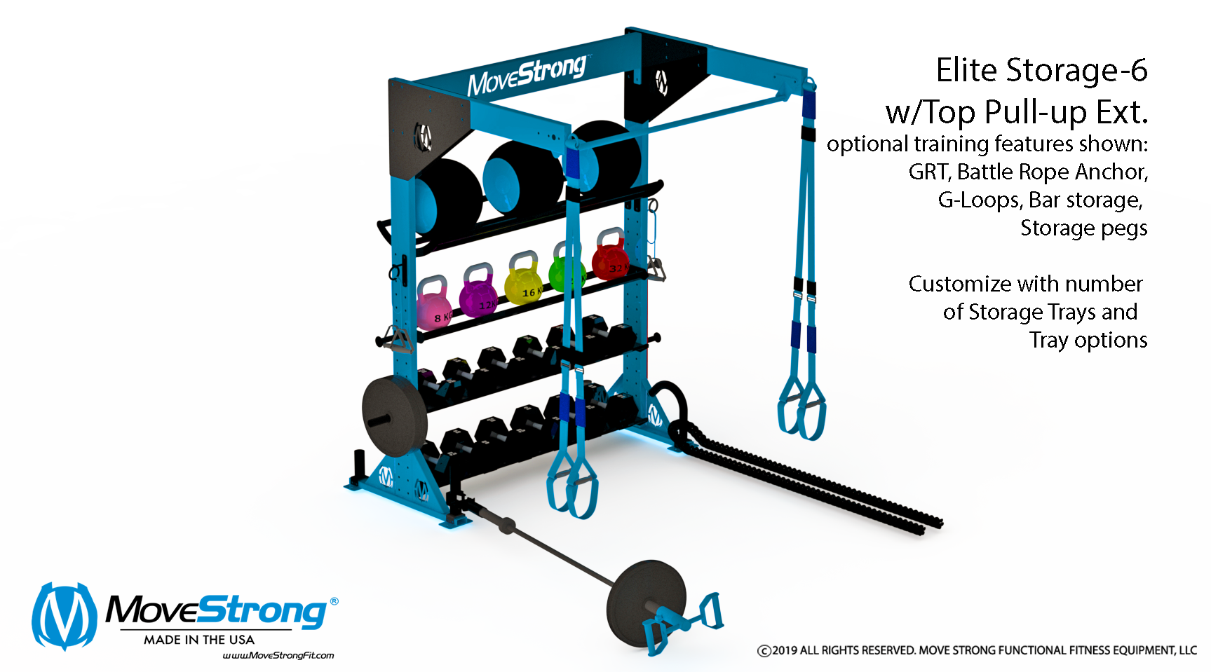 MoveStrong Elite Storage-6 with Single Top Pullup Bar