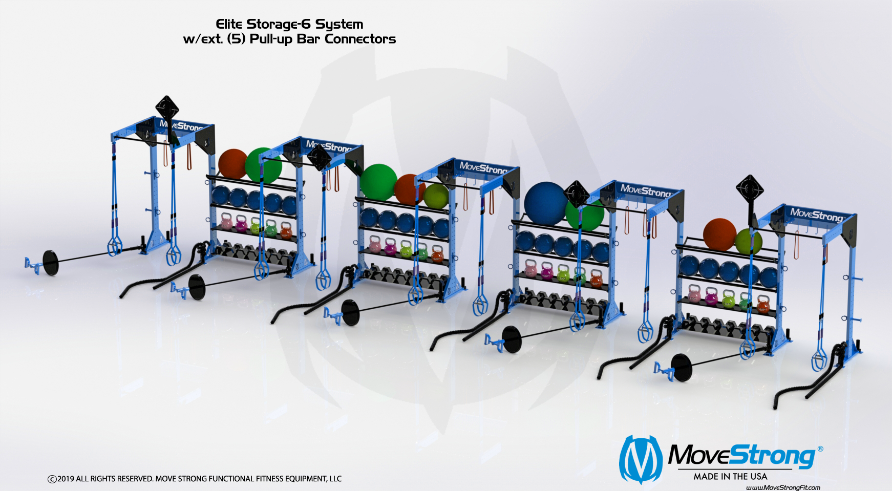 Elite Storage-6 w/ (5) extended Pull-up bars connectors