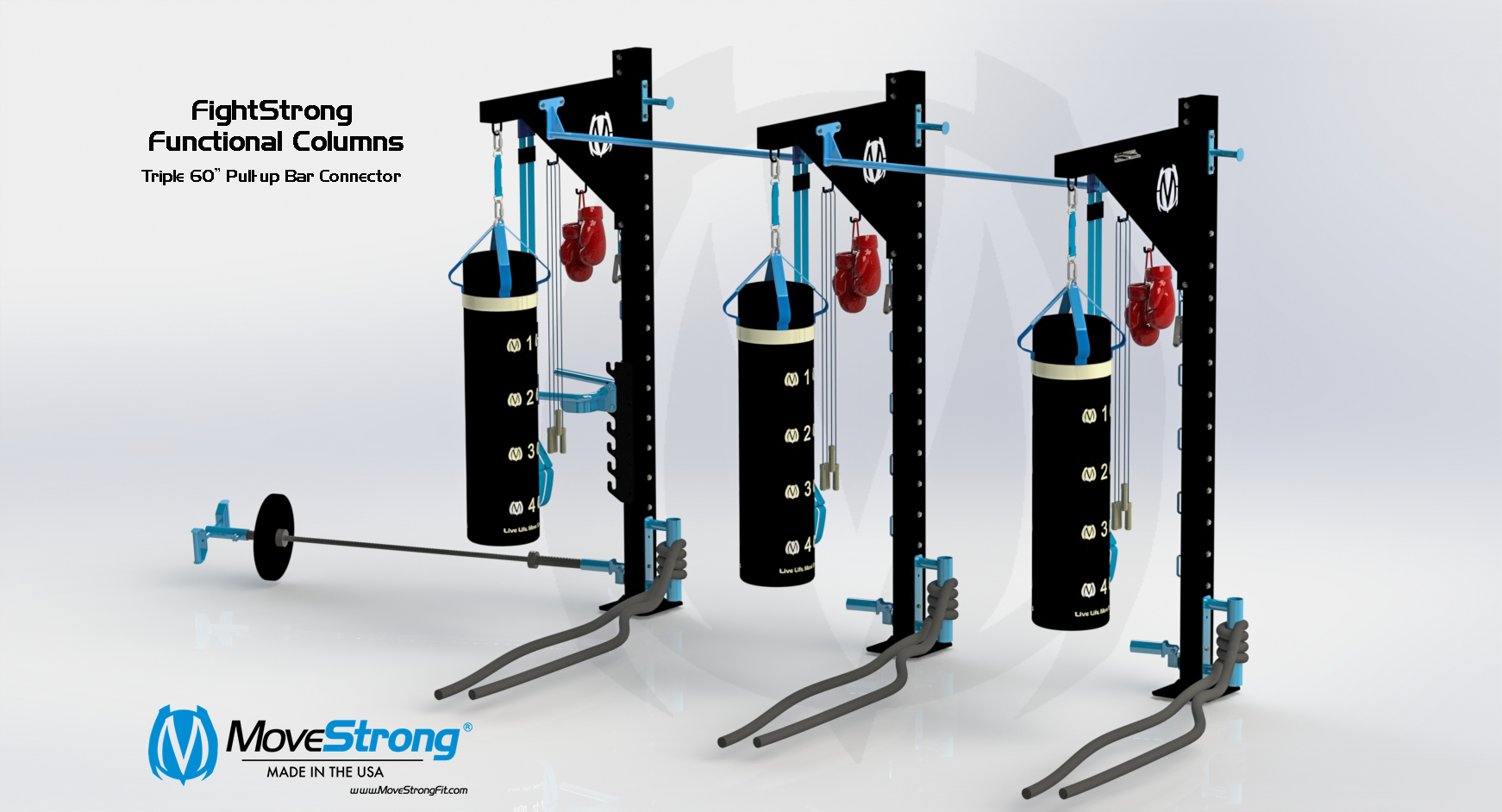 Modular Heavy Bag Stands with Functional Fitness Training