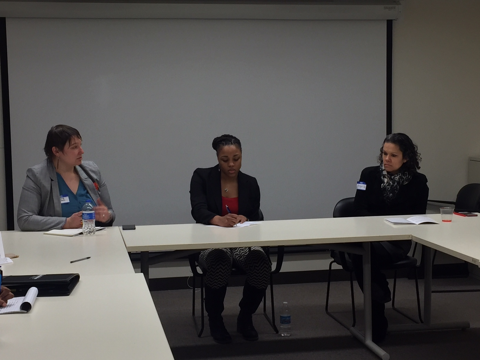 Chyanne alongside panel members Tiara Hughes, middle, works at SOM and Angela King, right, (NOMAS advisor and Project Manager at Facilities & Services at UIUC).
