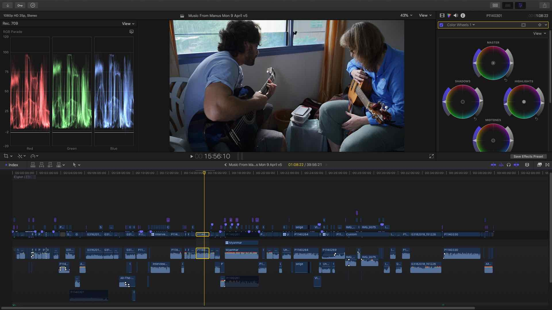 Editing and colour correction in Final Cut Pro X