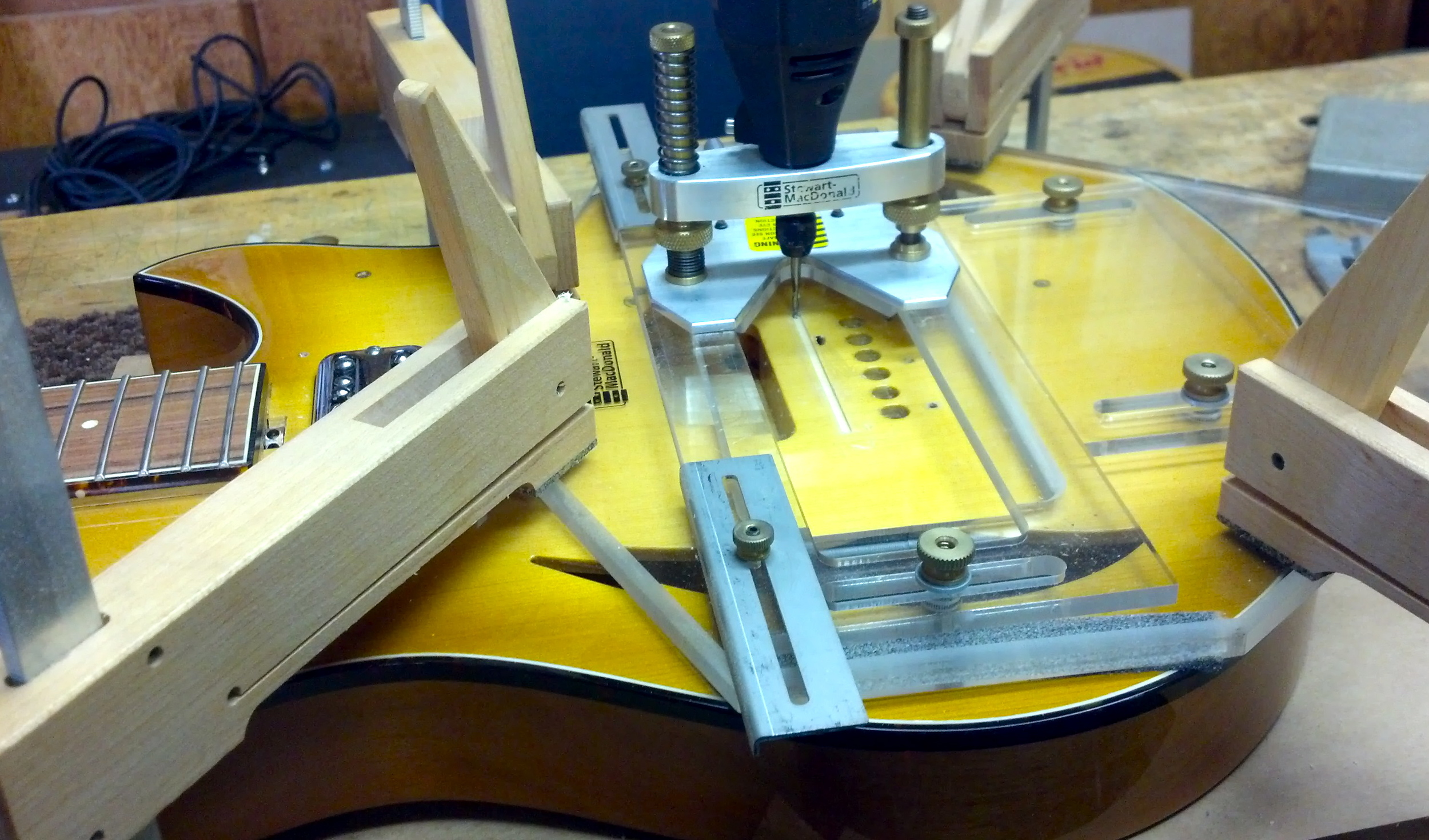 Just after routing the small strip to hold the piezo pickup.