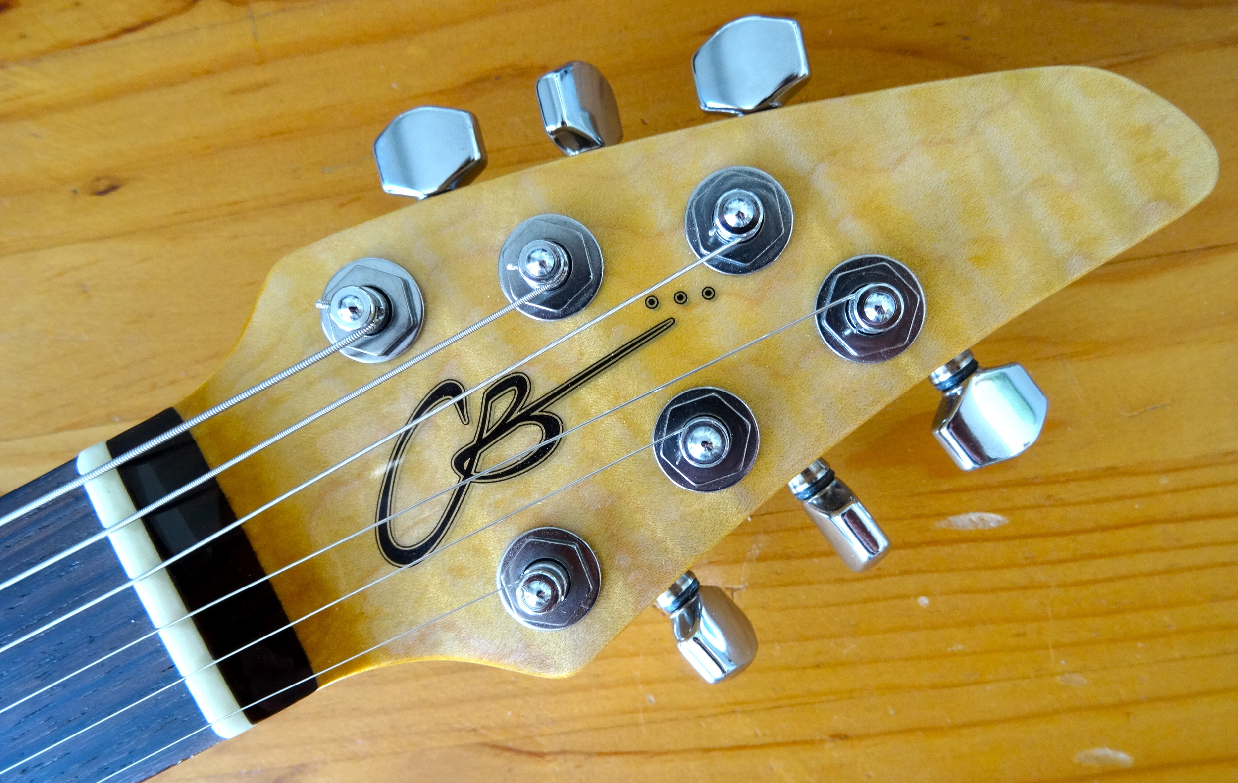This is the first guitar to feature the new CB Hill logo on the headstock