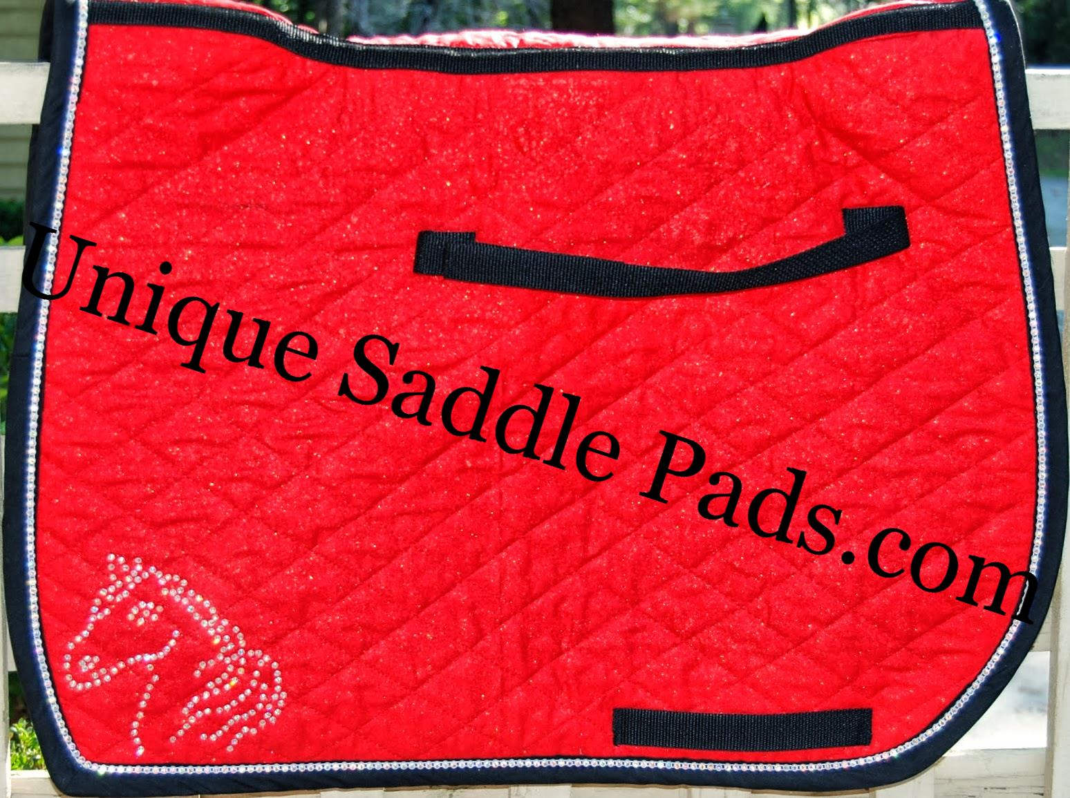 Red And Black Horse Head Unique Saddle Pads