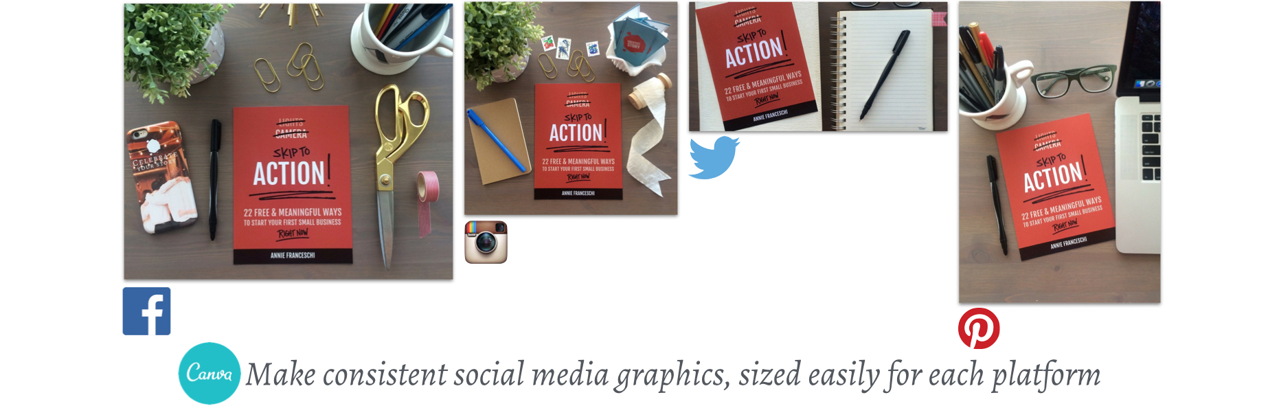 Use Canva to easily create social media graphics, sized correctly for each platform | Greatest Story for Business Blog