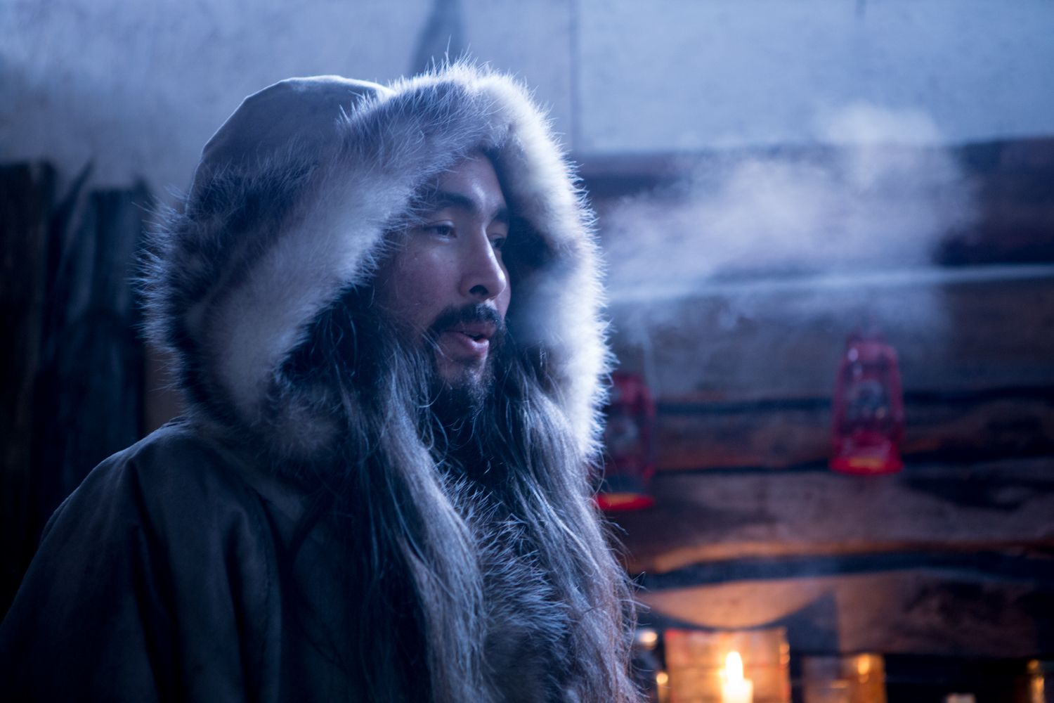 "Alaskan Actor Ishmael Hope, in role of ""ATKA"" on the set of ""Frontier Azul""."