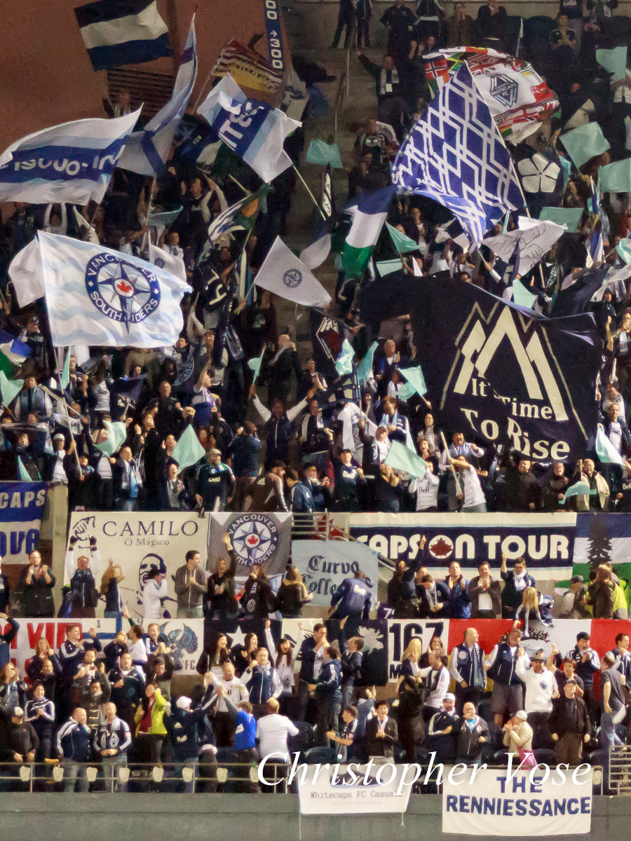 2013-10-09 Curva Collective, Rain City Brigade, and Vancouver Southsiders Goal Reaction (Manneh's First).jpg