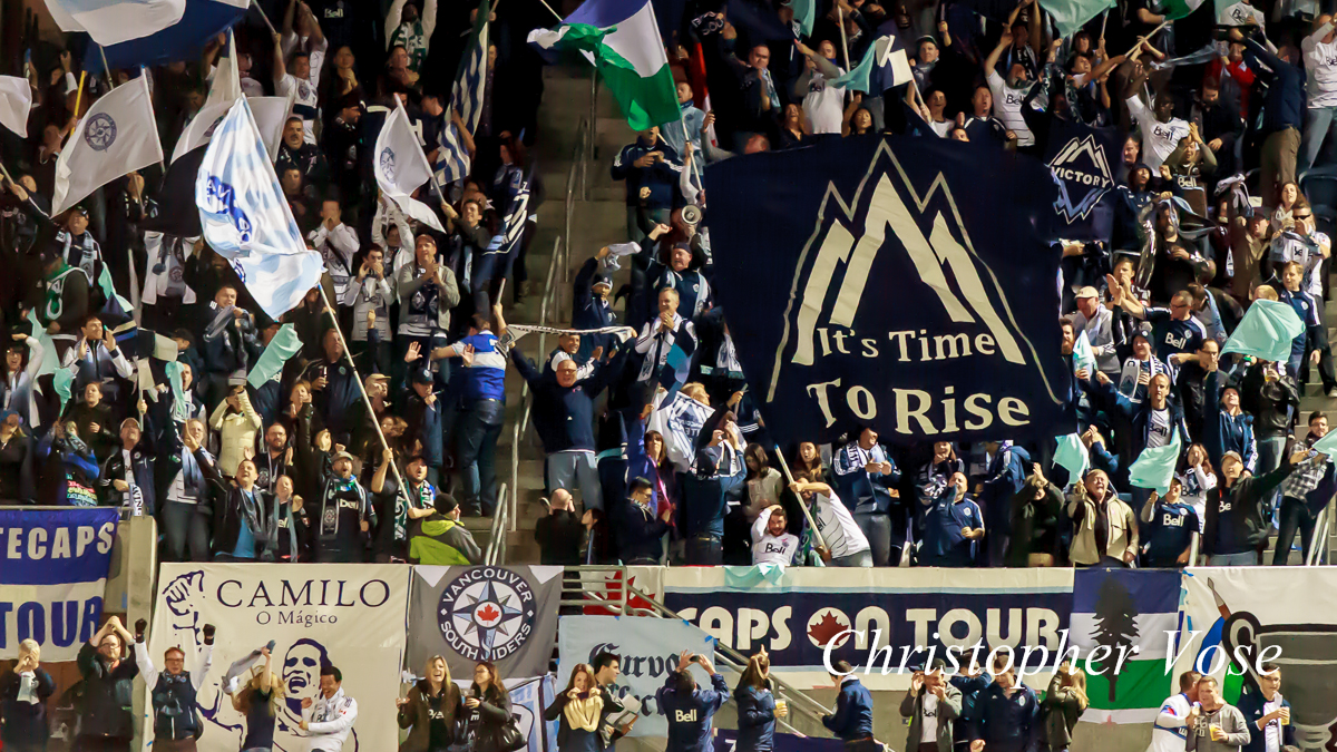 2013-10-09 Curva Collective, Rain City Brigade, and Vancouver Southsiders Goal Reaction (Manneh's Second).jpg