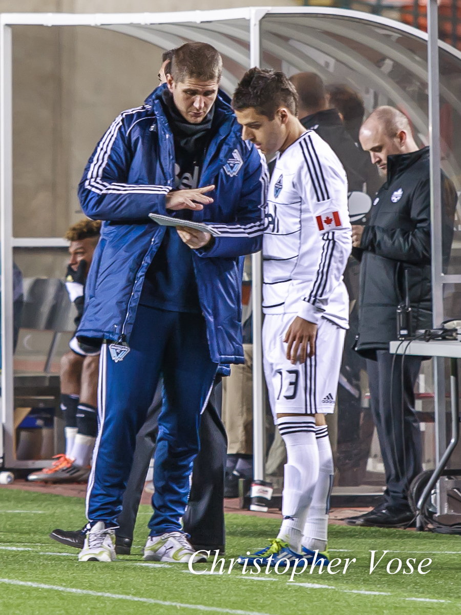 Carl Robinson spoke with Michael Nanchoff before he came on as a substitute in the first leg of the 2012 CSA Cup Semi-Final against FC Edmonton at Commonwealth Stadium on 3 May 2012.