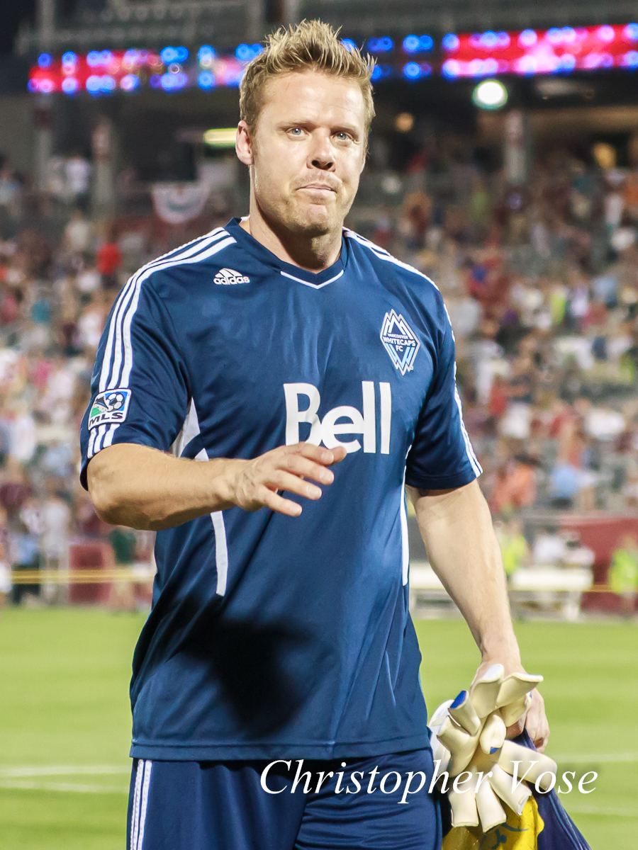 Marius Røvde approaches the away supporters section after Vancouver Whitecaps FC beat Colorado Rapids SC 1-0 at Dick's Sporting Goods Park on 4 July 2012.