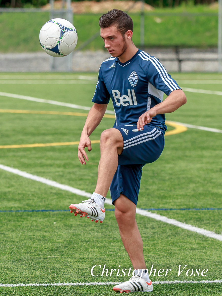 Russell Teibert practices his ball control at the Burnaby Lake Sports Complex on 28 June 2012.