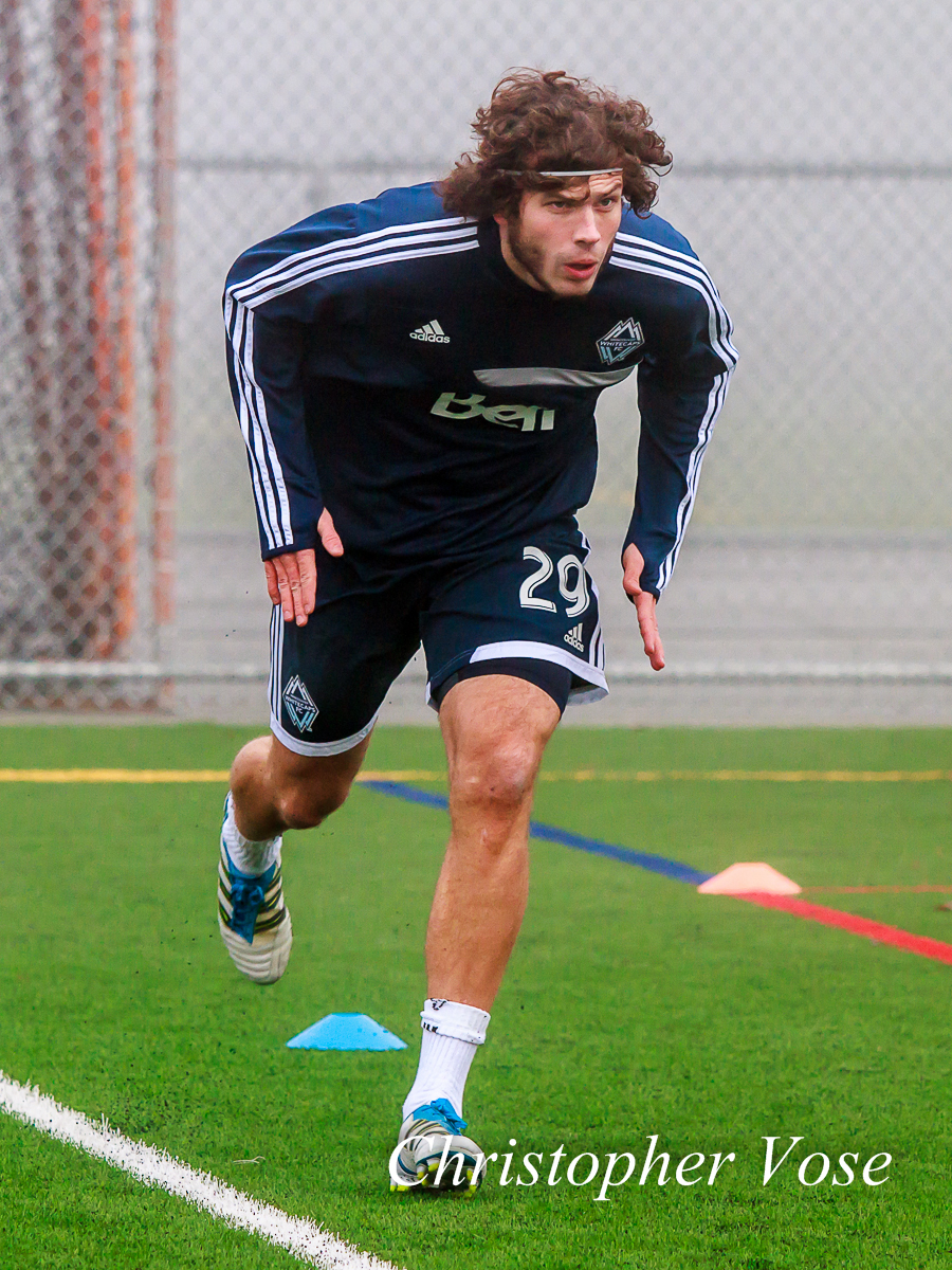 Tom Heinemann runs around the pitch at the Burnaby Lake Sports Complex on 21 January 2013.