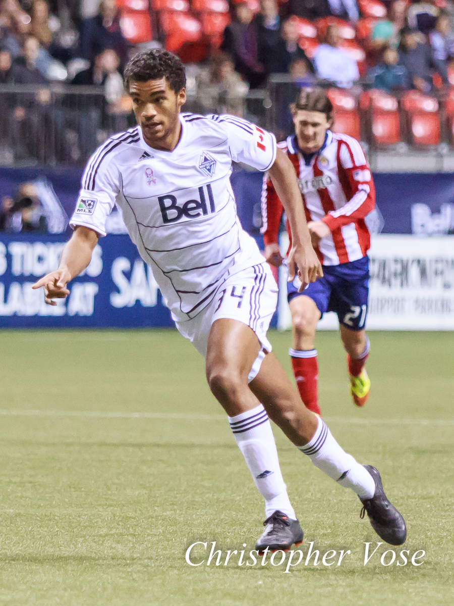 Caleb Clarke takes a run at the CD Chivas goalat BC Place on 3 October 2012.