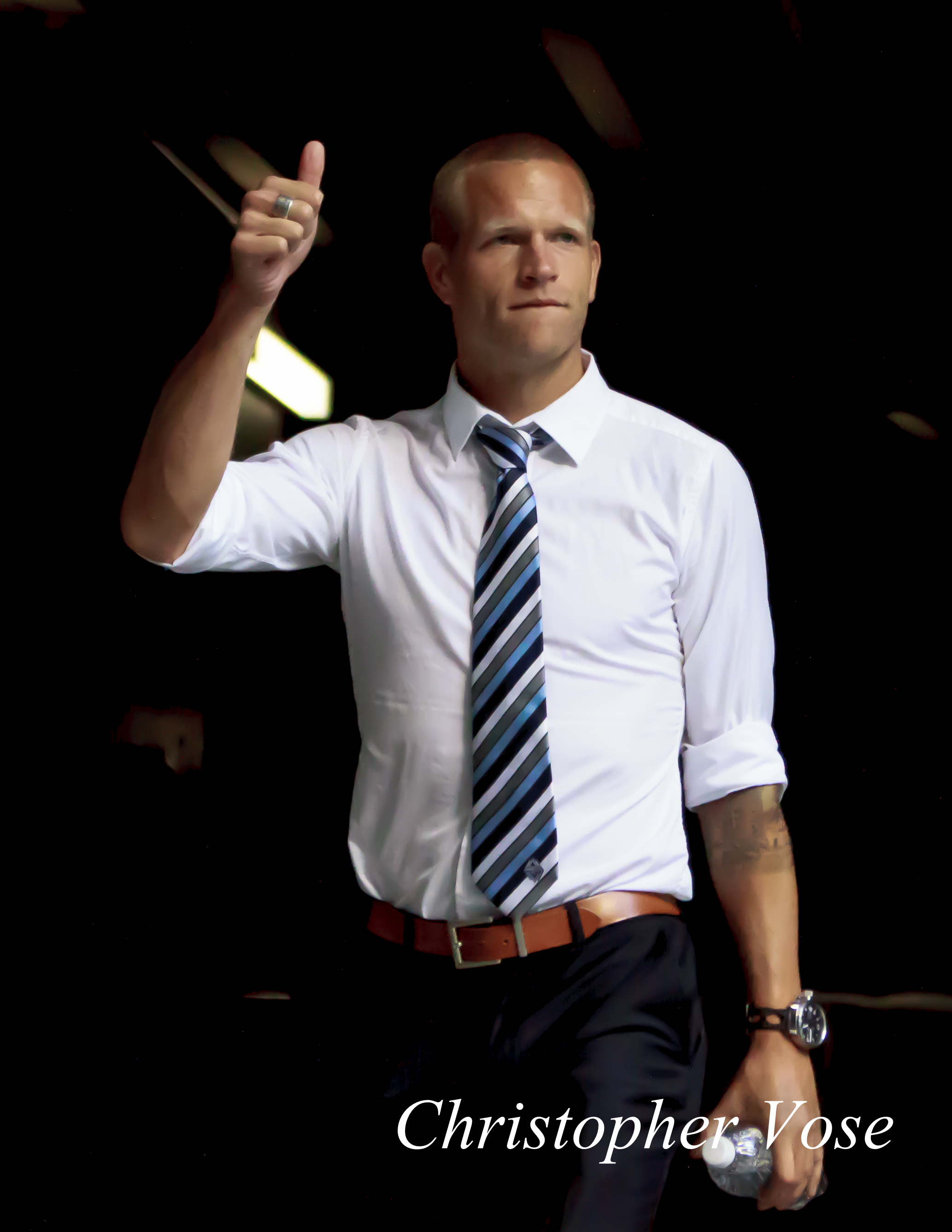 Captain Jay DeMerit salutes the supporters at BC Place on 24 August 2013.