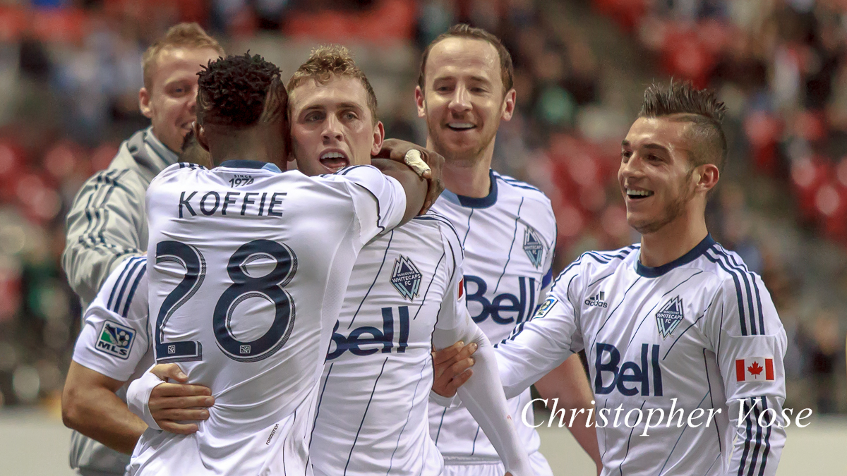 Marius Røvde, Gershon Koffie, Andy O'Brien, and Russell Teibertcelebrate Corey Hertzog's goal at BC Place on 1 May 2013.
