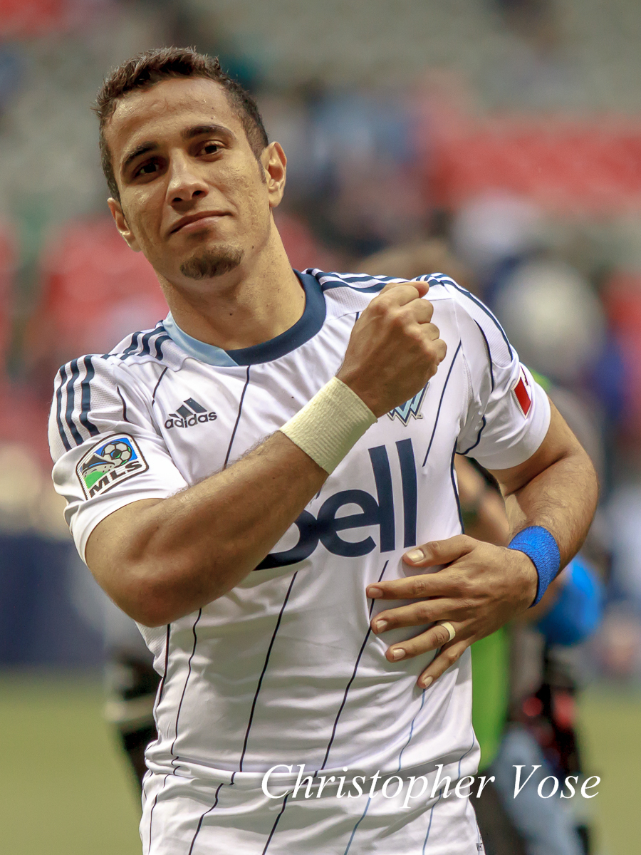 Camilo Sanvezzo salutes the supporters at BC Place on 11 May 2013.