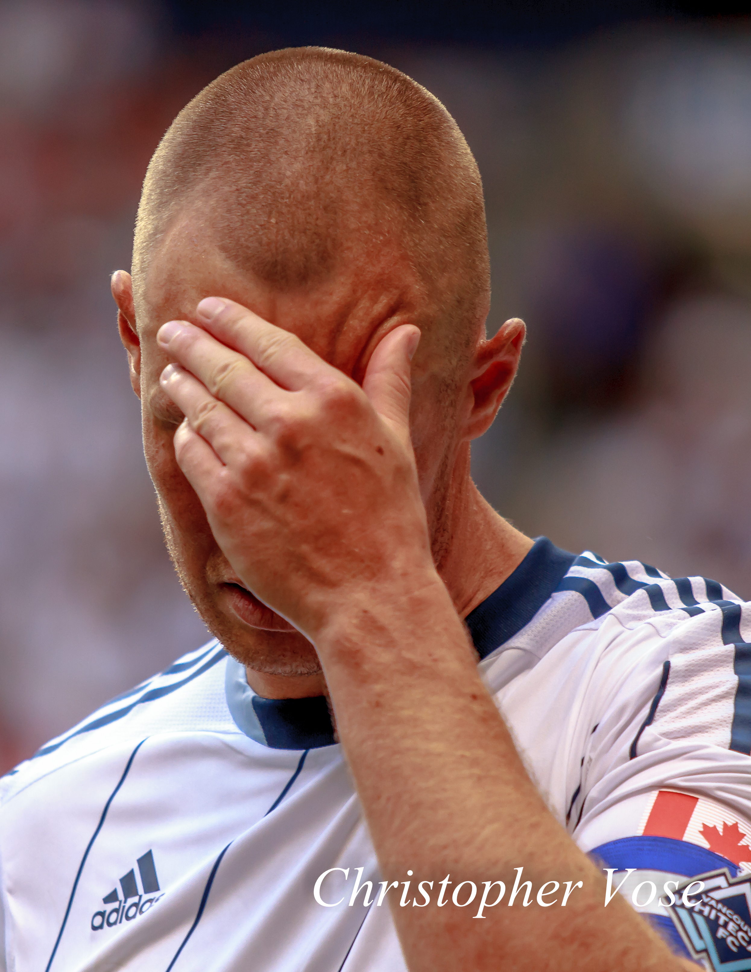 Kenny Miller reacts to a narrow miss at BC Place on 10 August 2013.