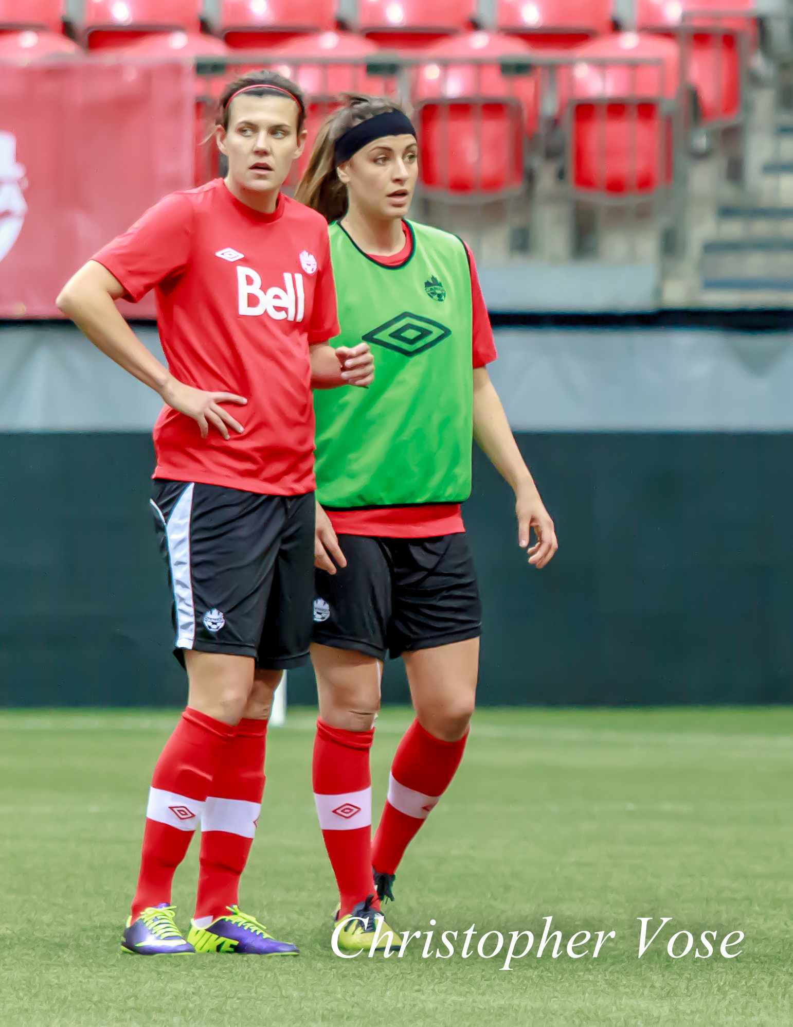 2013-11-23 Christine Sinclair and Selenia Iacchelli.jpg