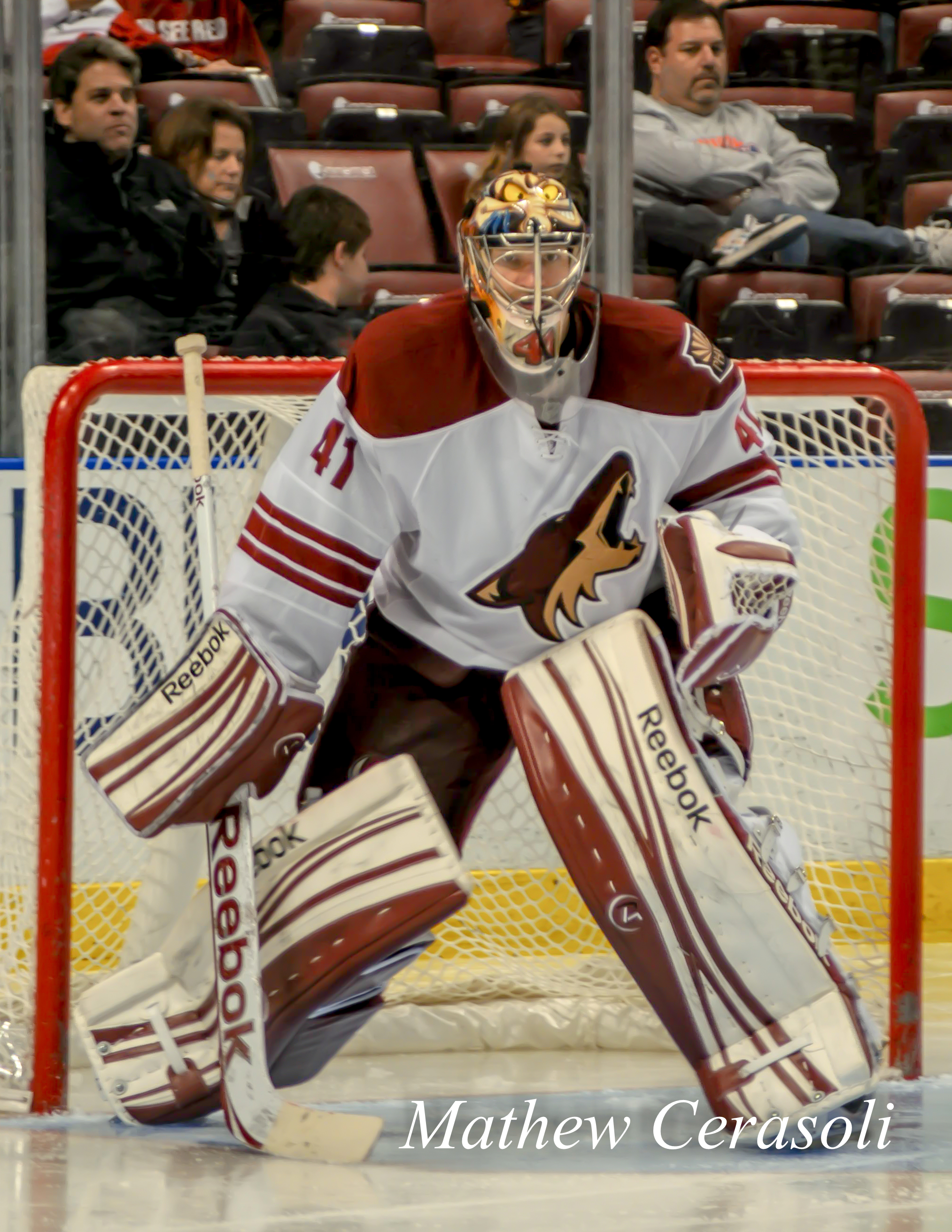 Phoenix Coyotes' Mike Smith in front of 17,711 at the Broward County Civic Arena in Sunrise, Florida on 20 December 2011.