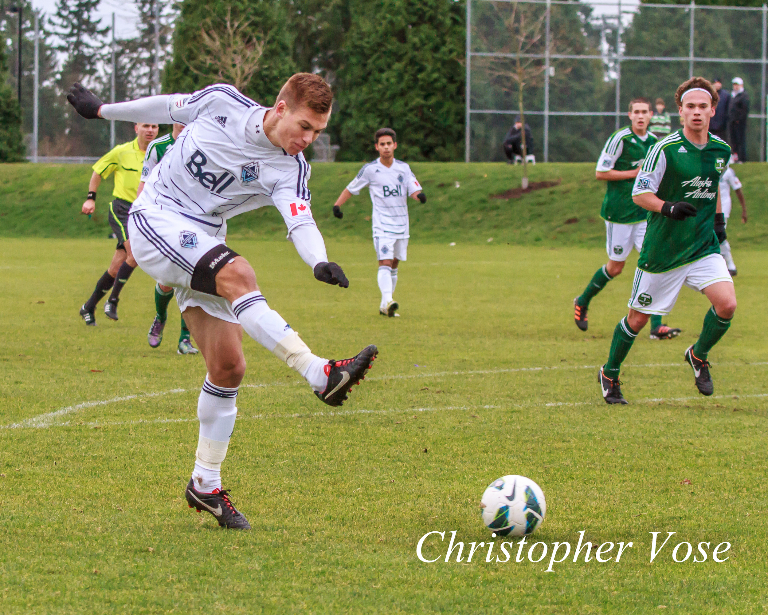 Brody Huitema playing for the U18s at South Surrey Athletic Park on 16 December 2012.