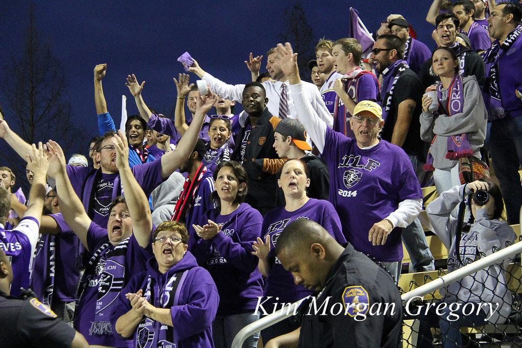 Travelling Orlando City SC Supporters at Battery Park on 22 March 2014.