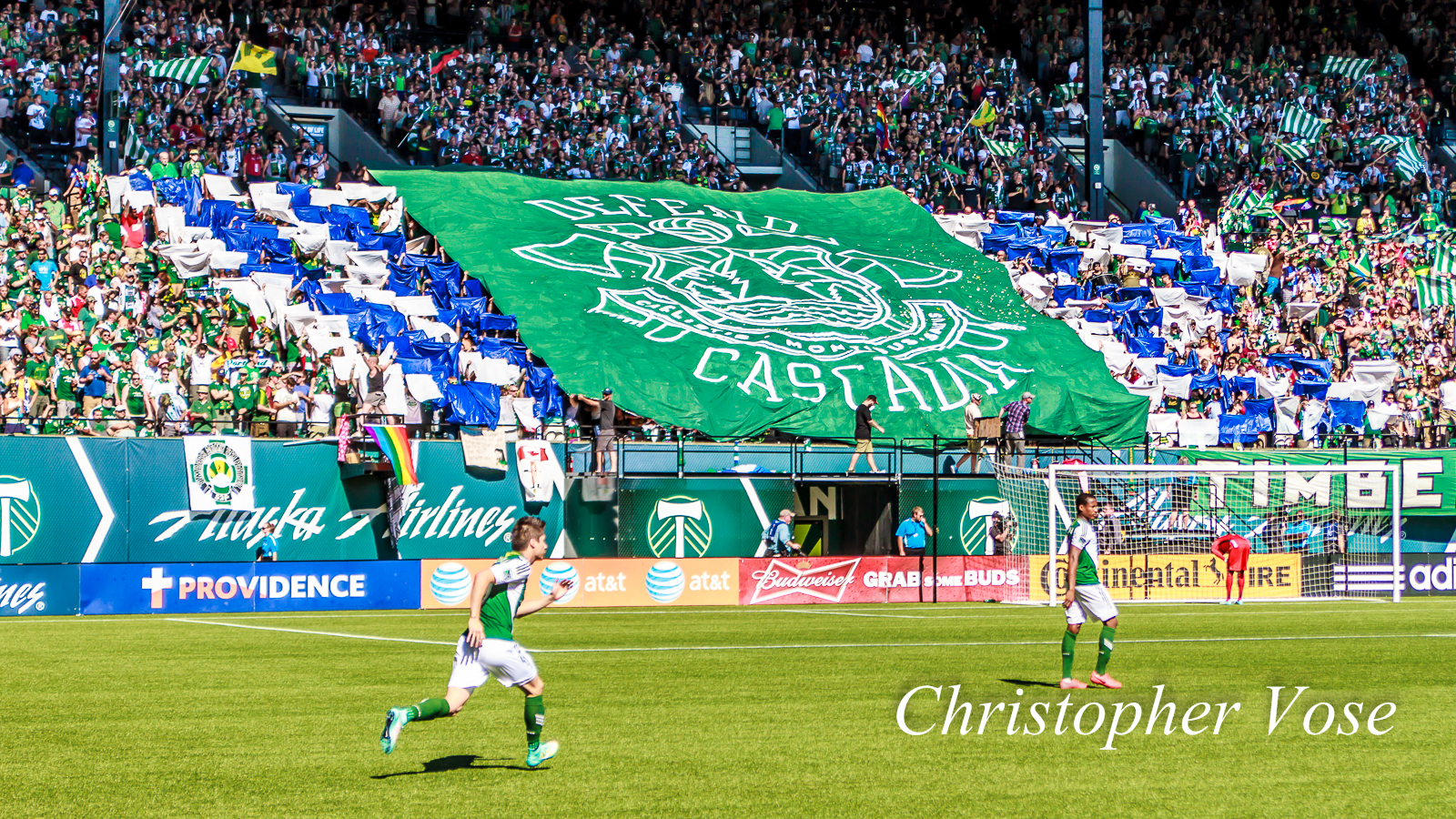 """The Timbers Army's tifo said """"defend Cascadia."""" Between tonight's victory and last month's in Vancouver, Portland has done all that it can to ensure that the Cup heads north to Seattle this year. We guess you could call that 'defending Cascadia."""""""