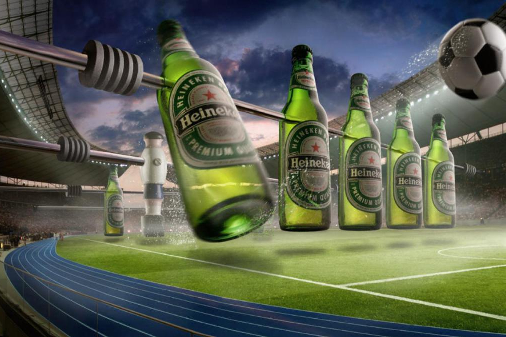 A Heineken-inspired fussball stadium.