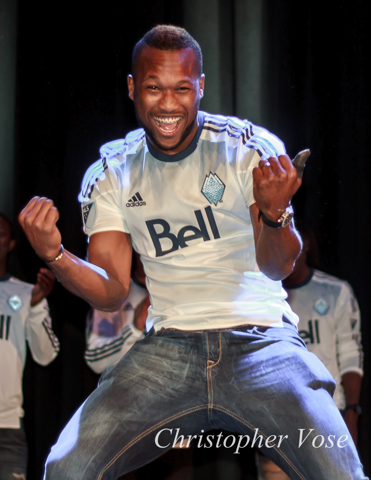 Kendall Waston re-enacts his goal celebration from the Colorado match.