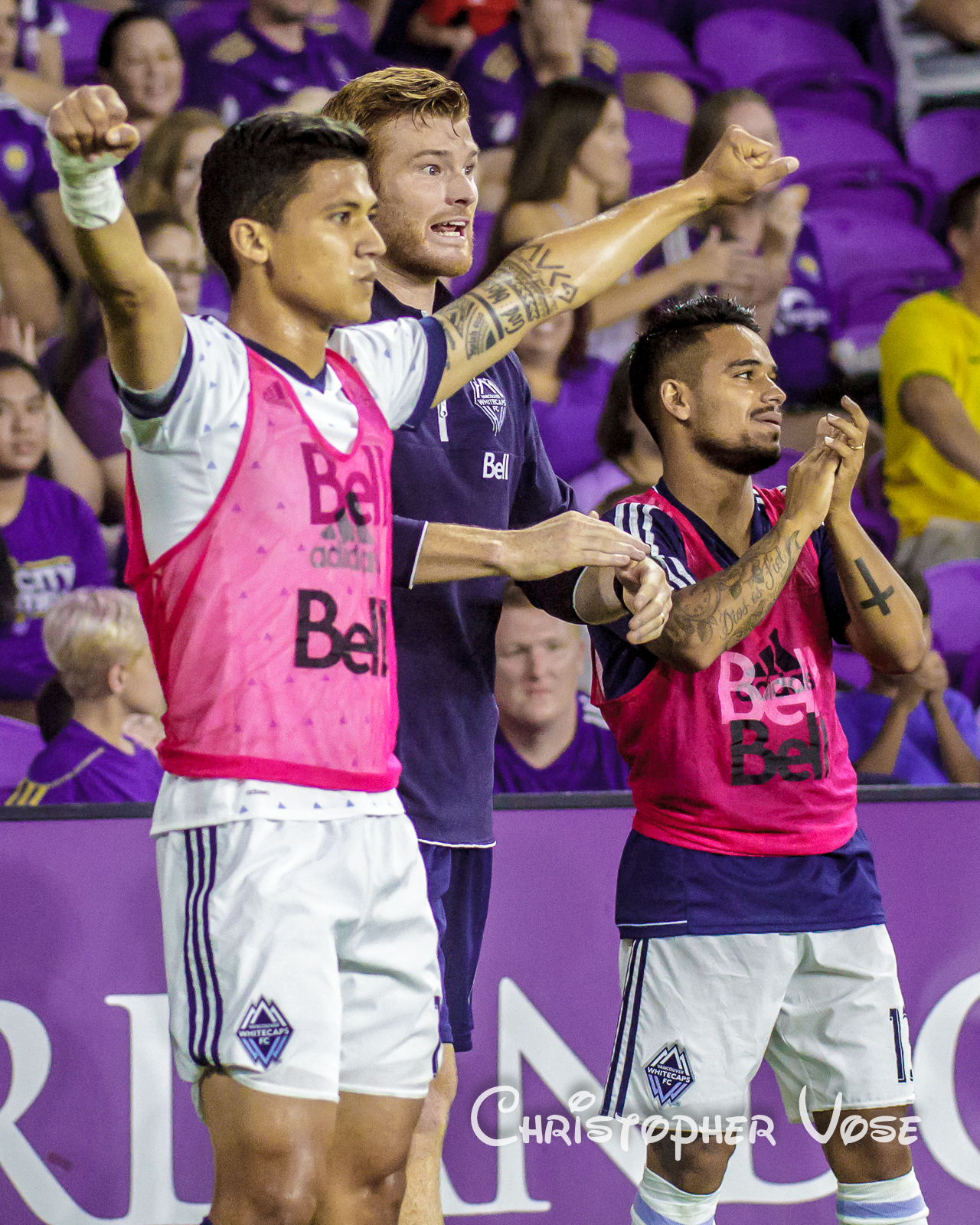2017-08-26 Fredy Montero, Jon Poli, and Cristian Techera Goal Reaction (Brek Shea).jpg